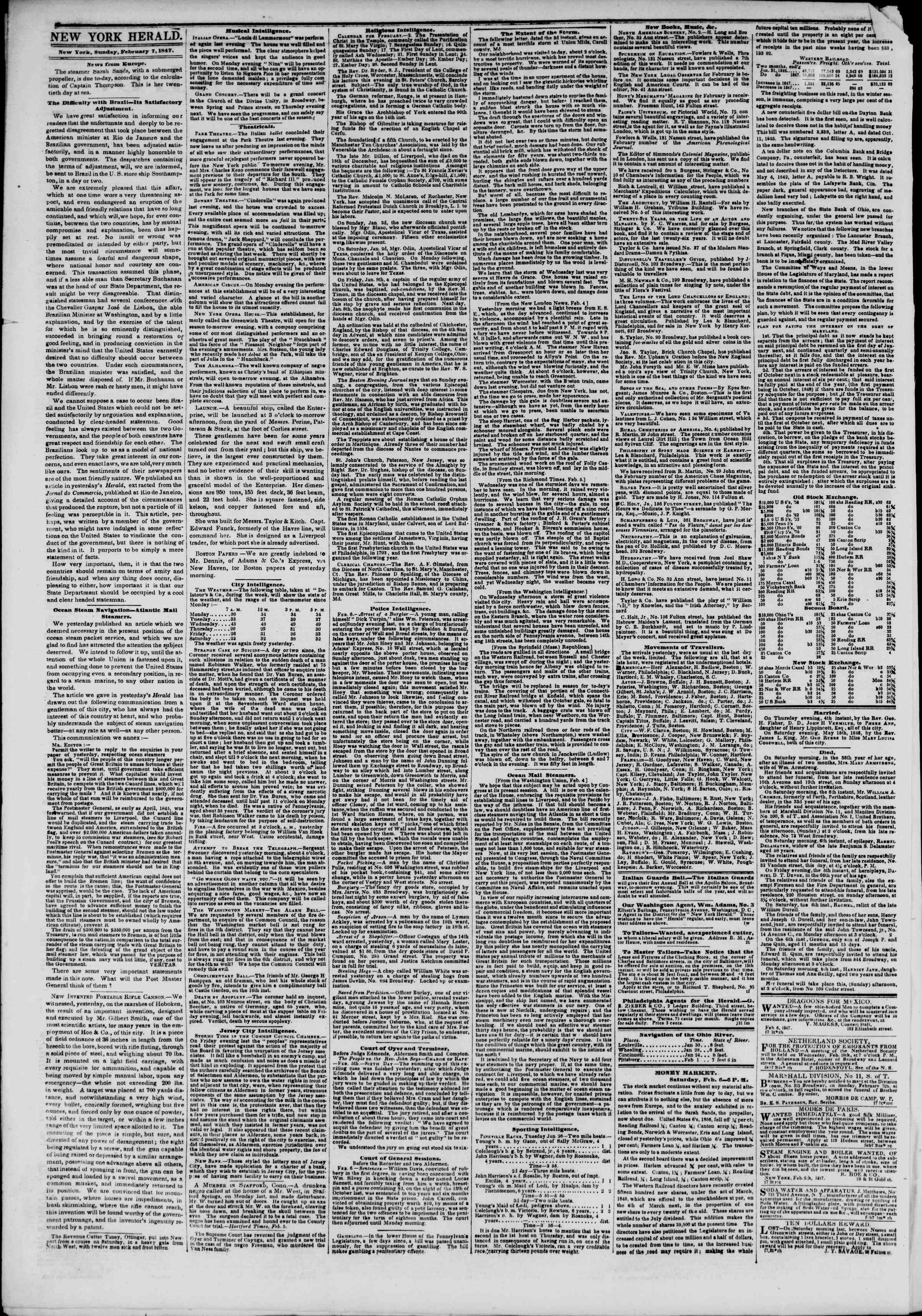 Newspaper of The New York Herald dated February 7, 1847 Page 2