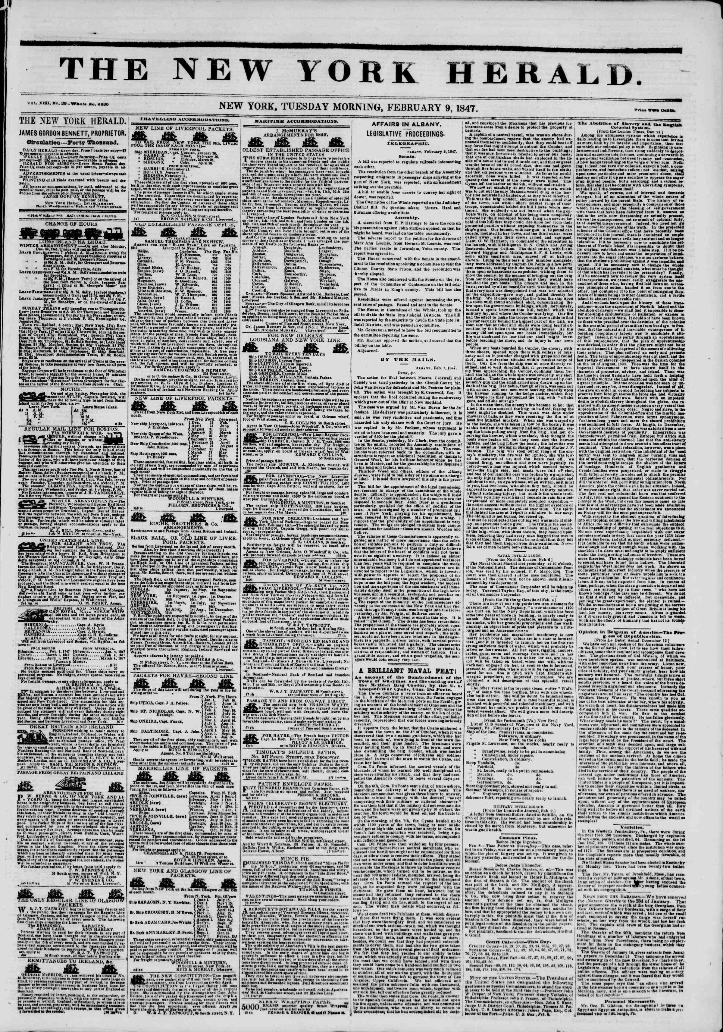 Newspaper of The New York Herald dated February 9, 1847 Page 1