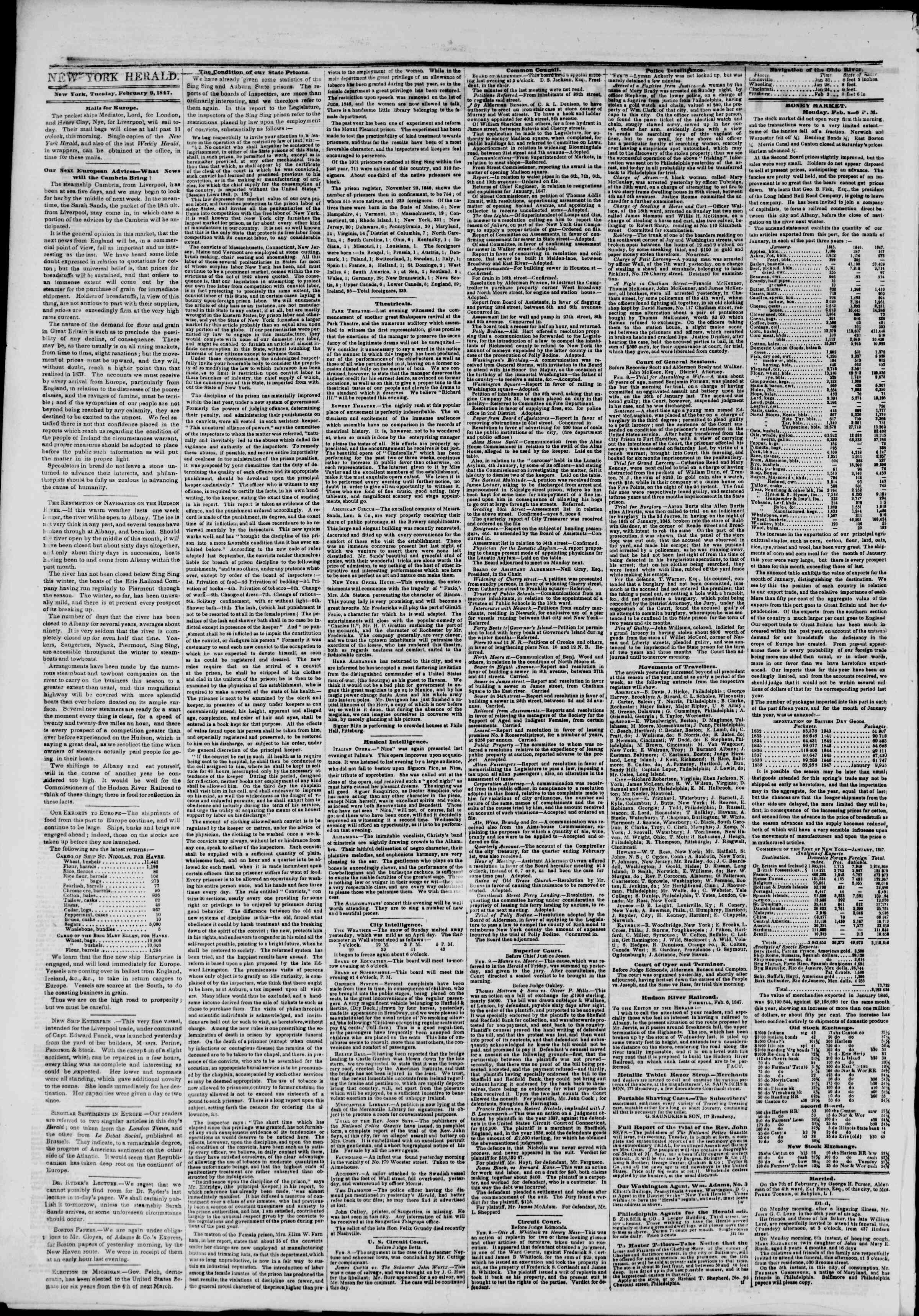 Newspaper of The New York Herald dated February 9, 1847 Page 2