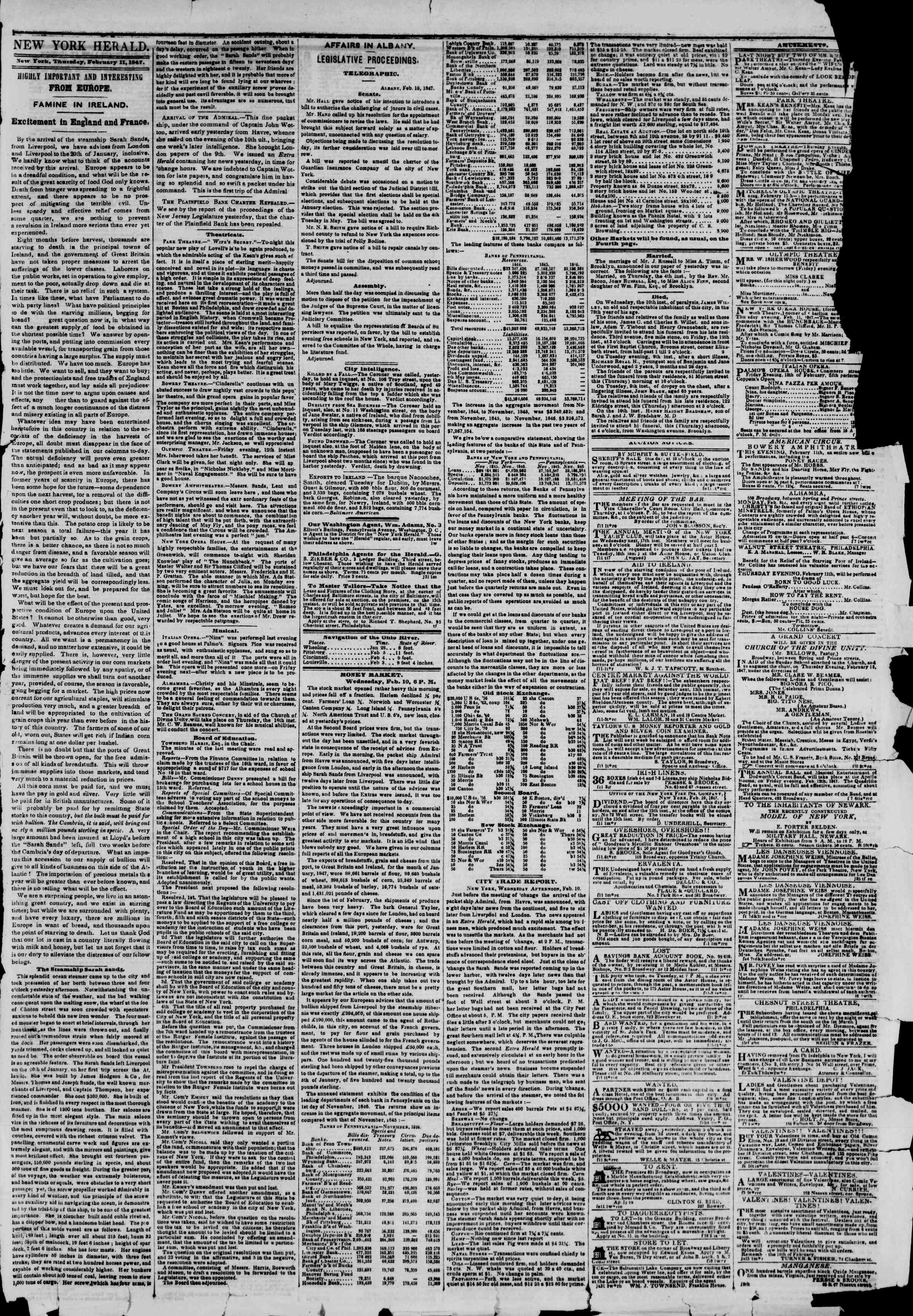 Newspaper of The New York Herald dated February 11, 1847 Page 3