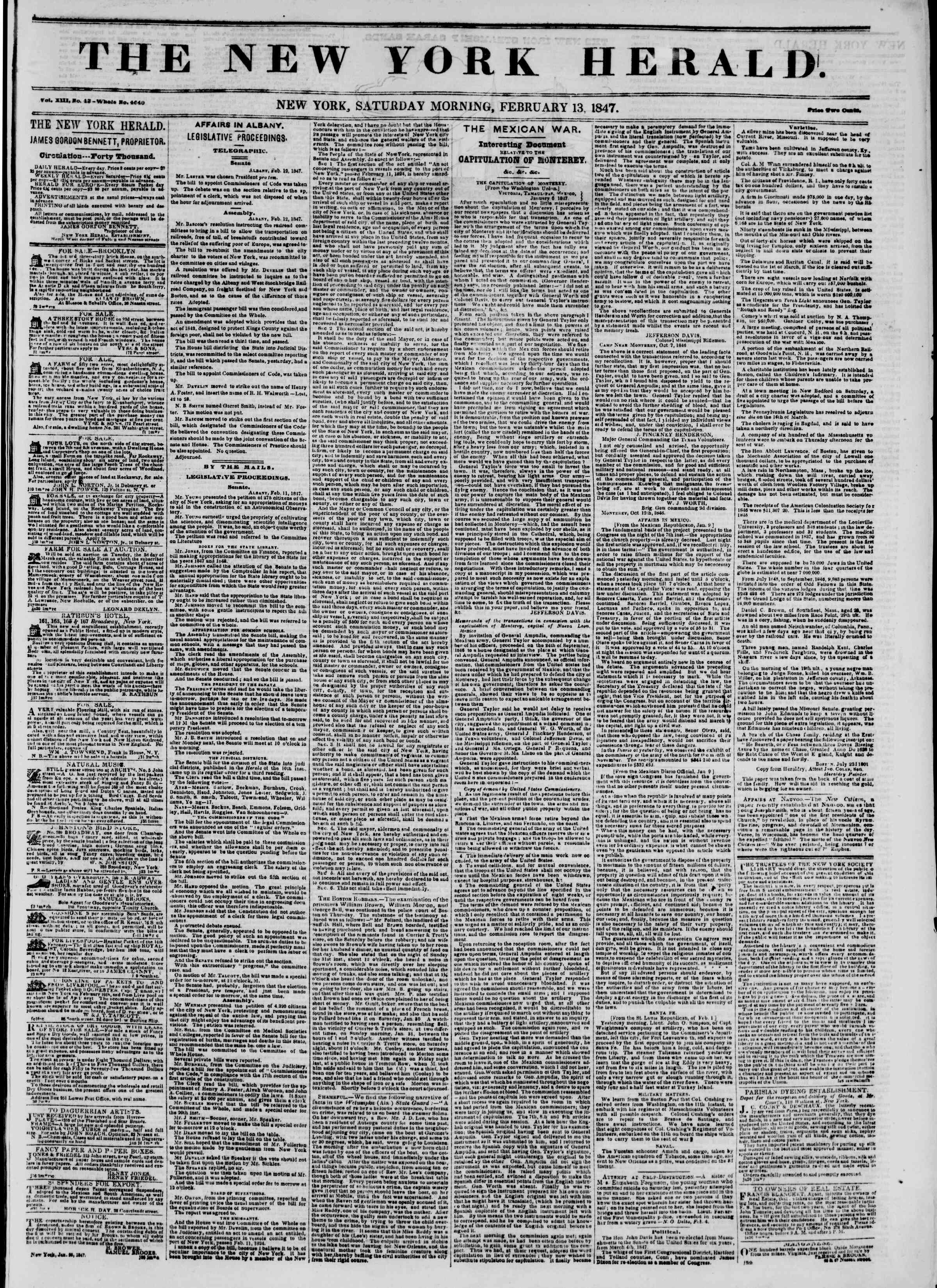 Newspaper of The New York Herald dated February 13, 1847 Page 1