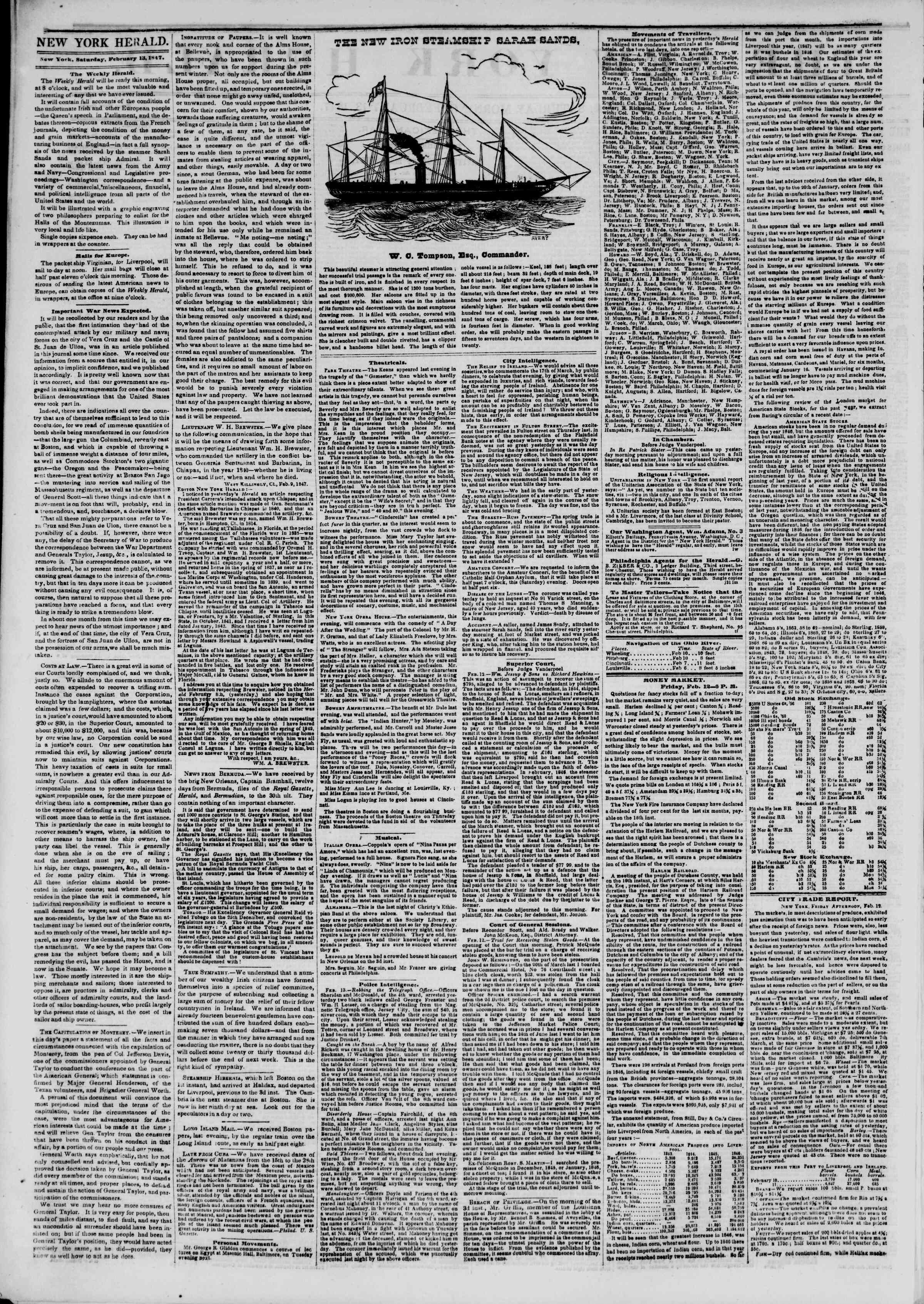 Newspaper of The New York Herald dated February 13, 1847 Page 2