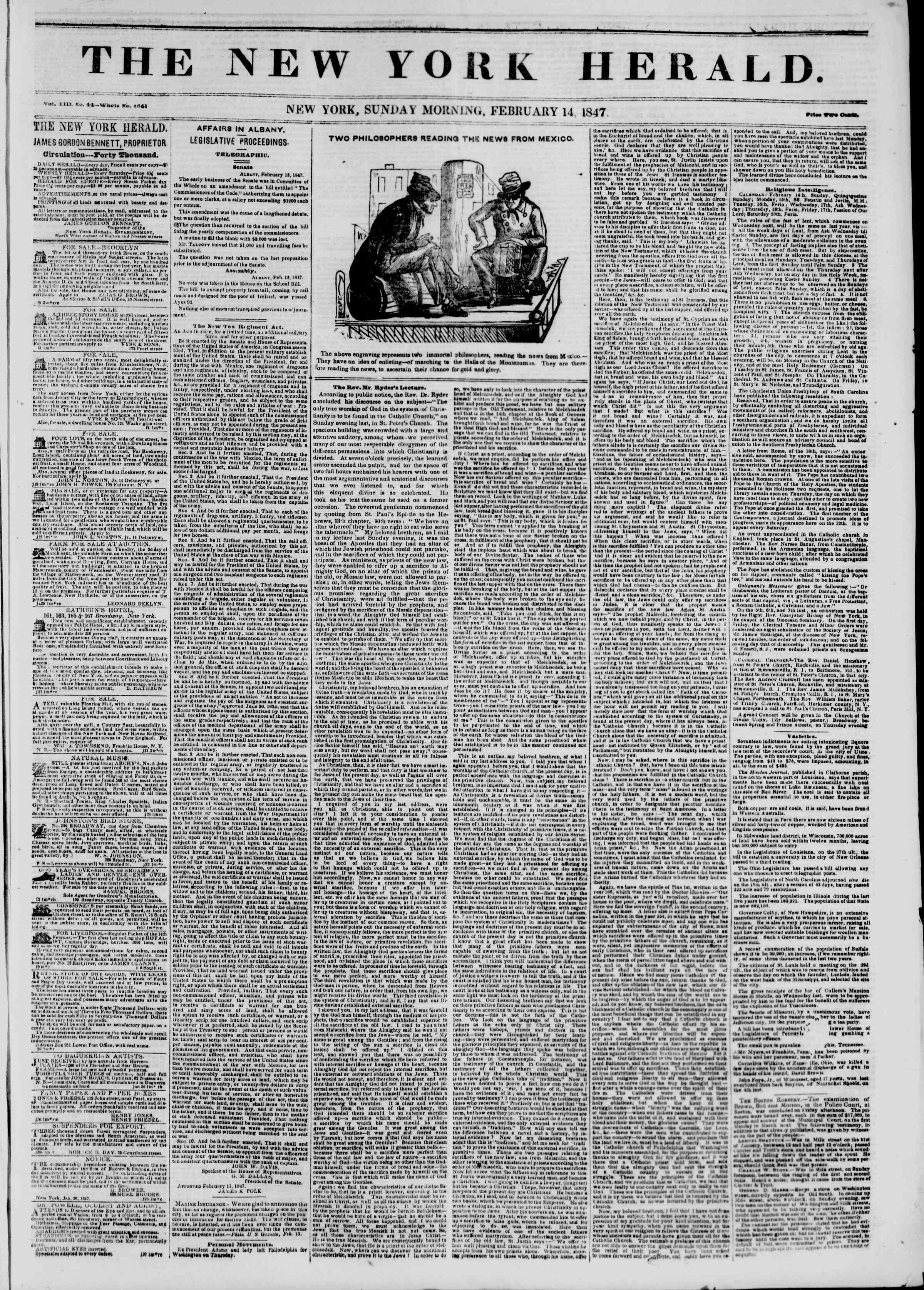 Newspaper of The New York Herald dated February 14, 1847 Page 1