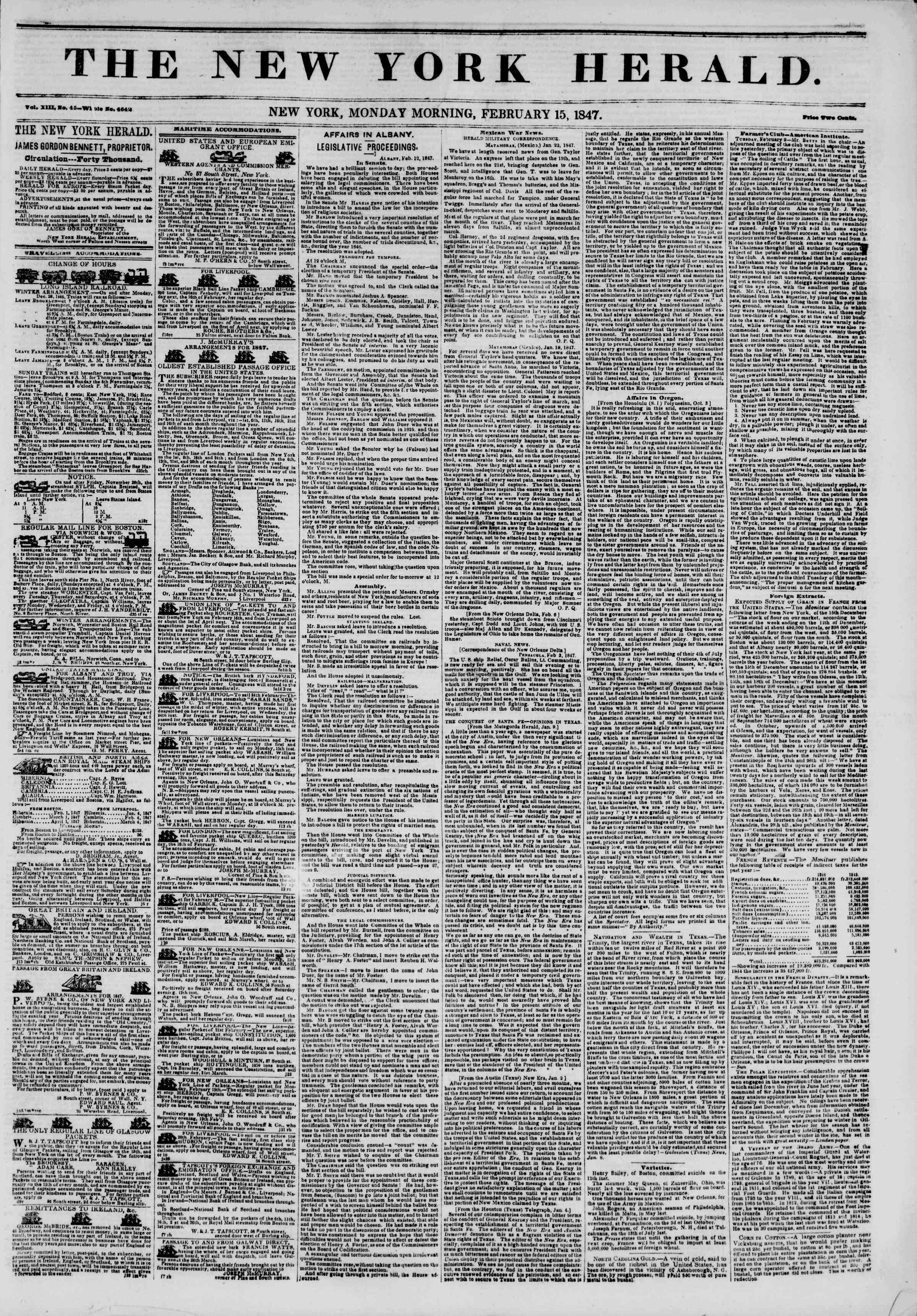 Newspaper of The New York Herald dated February 15, 1847 Page 1