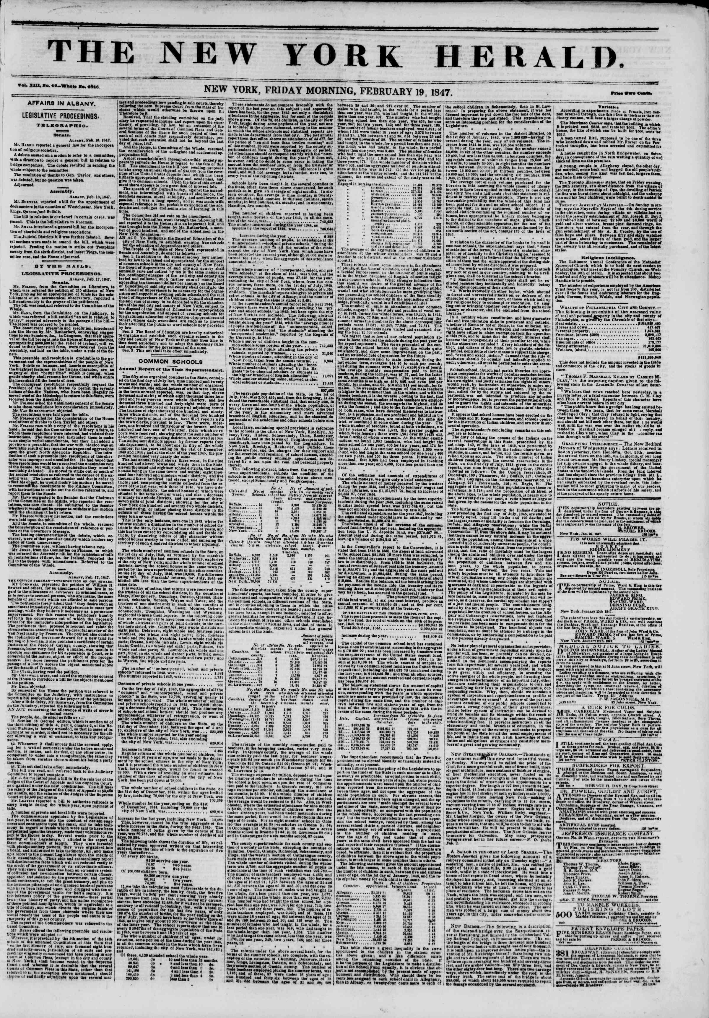 Newspaper of The New York Herald dated February 19, 1847 Page 1