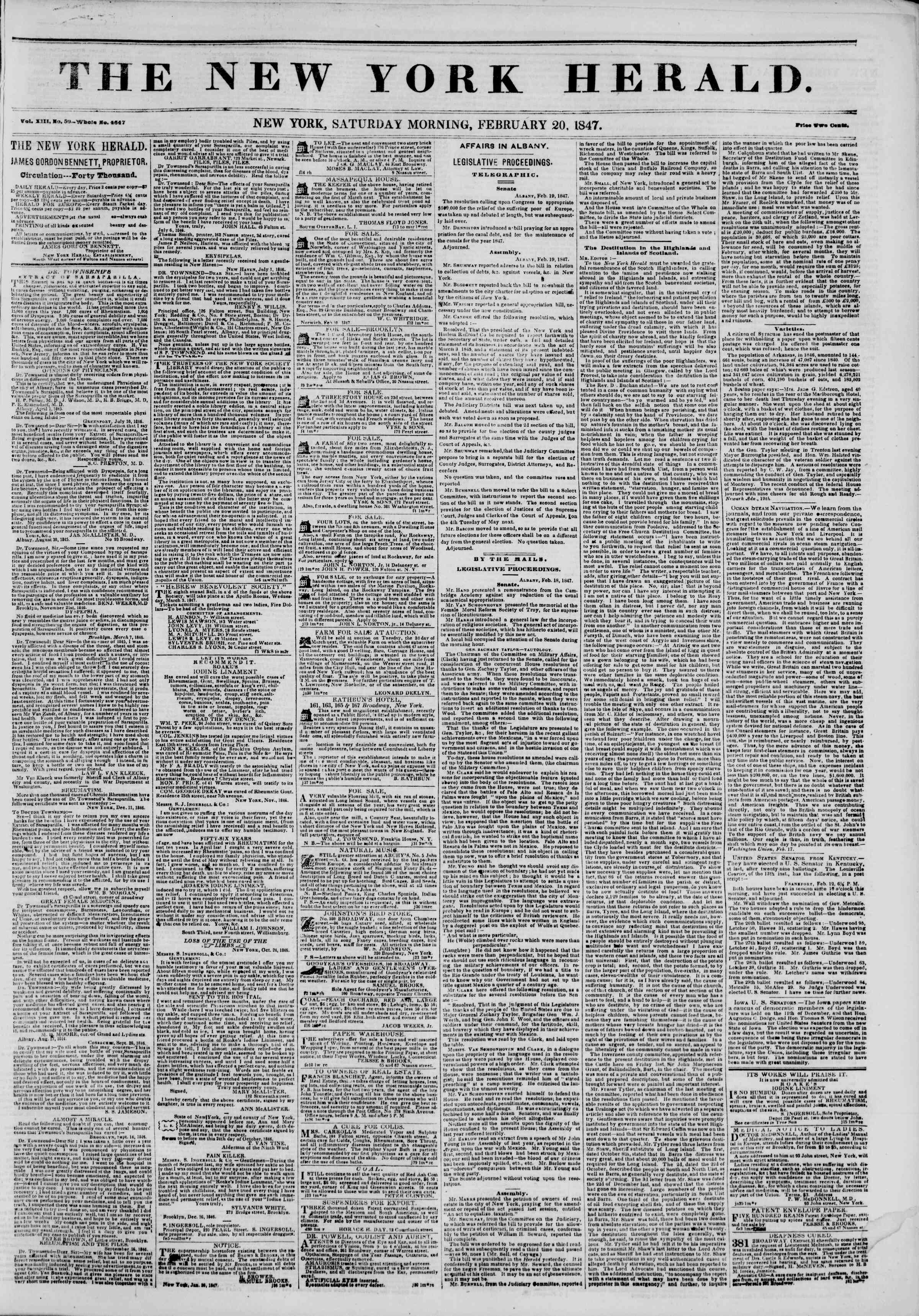 Newspaper of The New York Herald dated February 20, 1847 Page 1