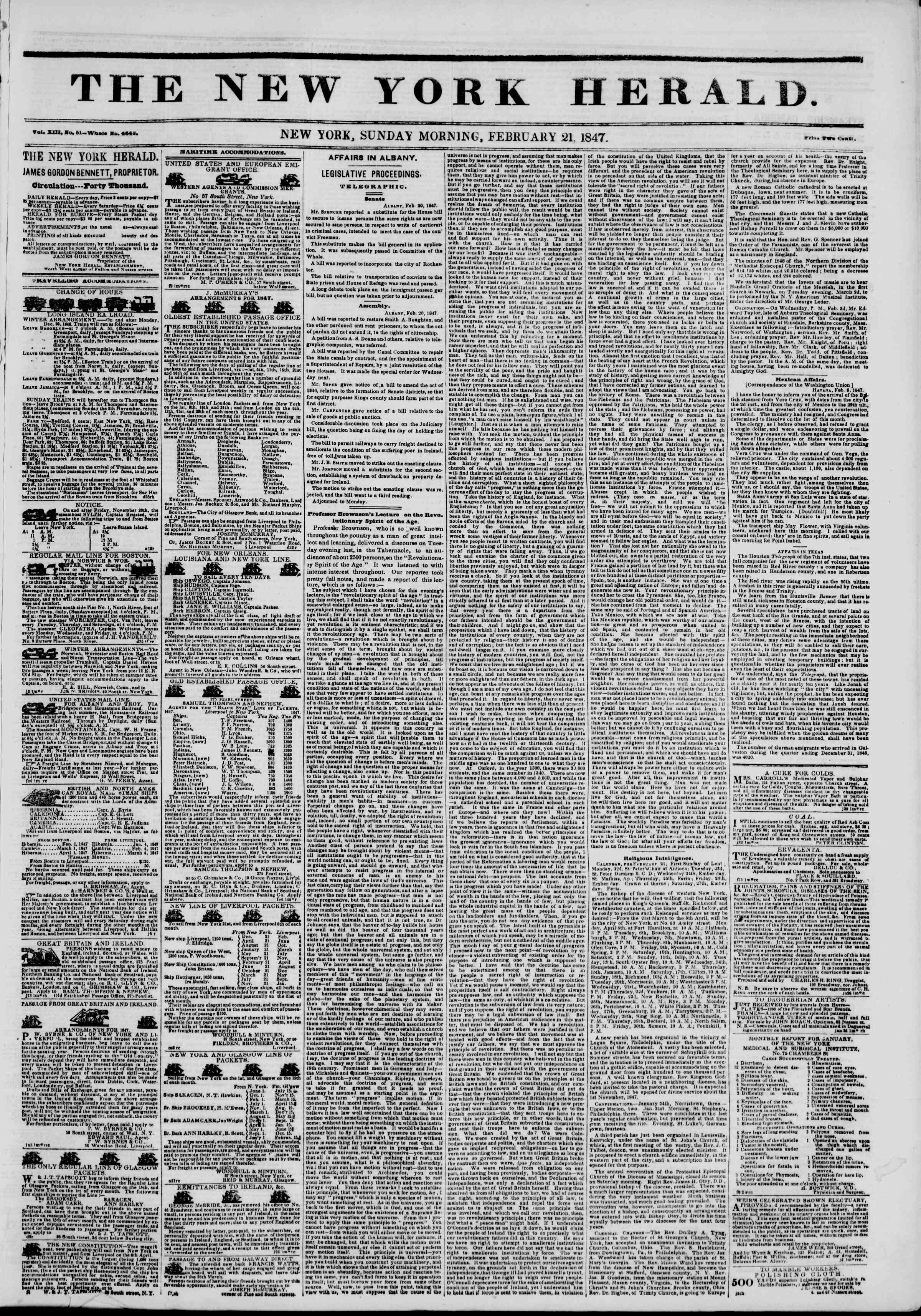 Newspaper of The New York Herald dated February 21, 1847 Page 1