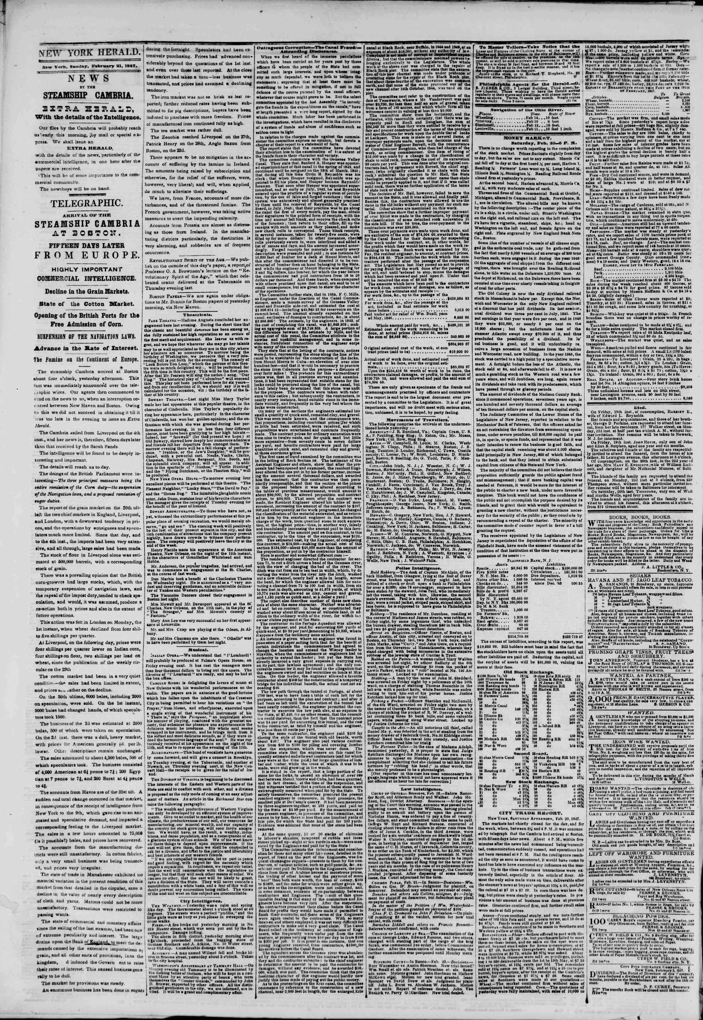 Newspaper of The New York Herald dated February 21, 1847 Page 2