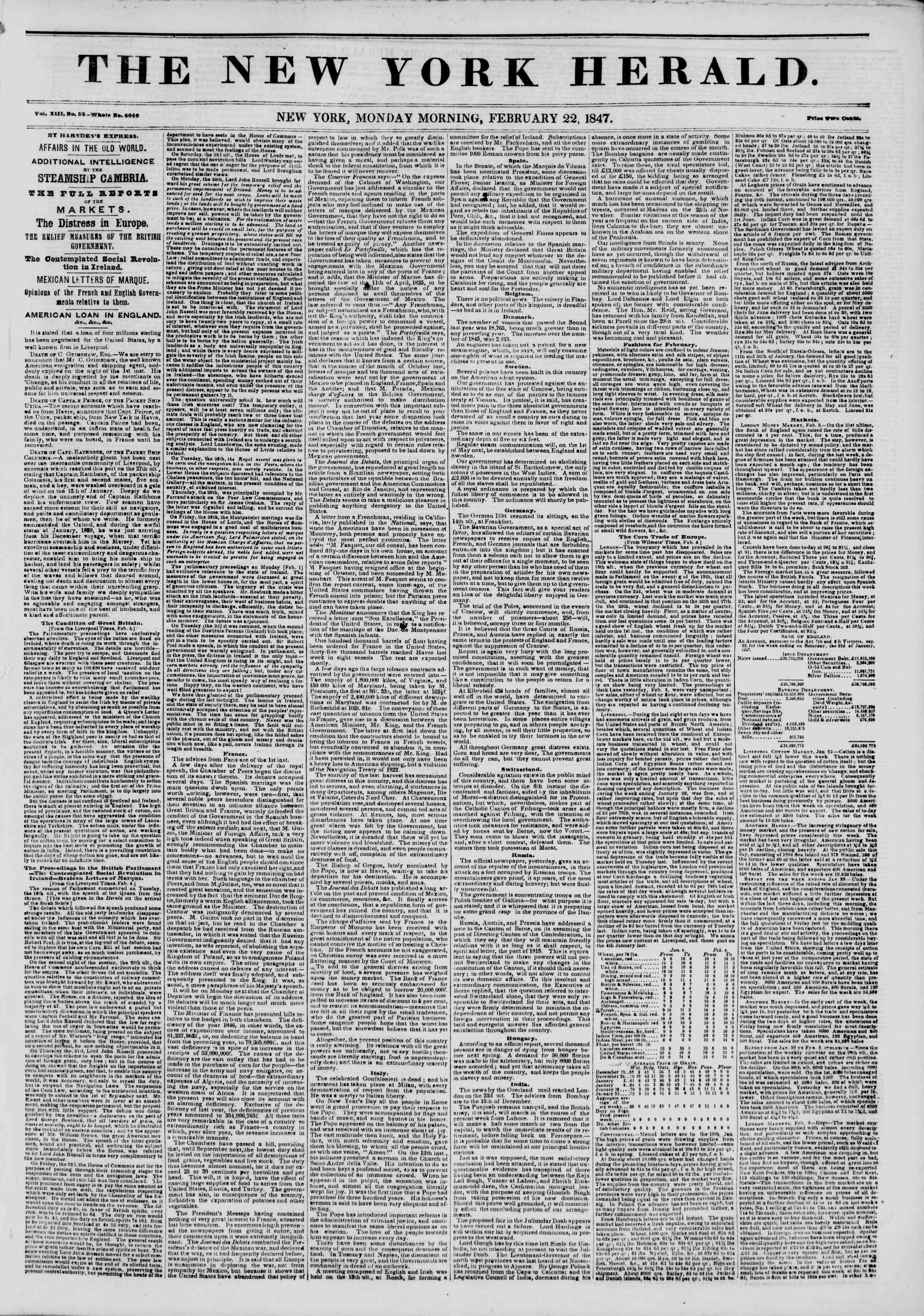 22 Şubat 1847 tarihli The New York Herald Gazetesi Sayfa 1