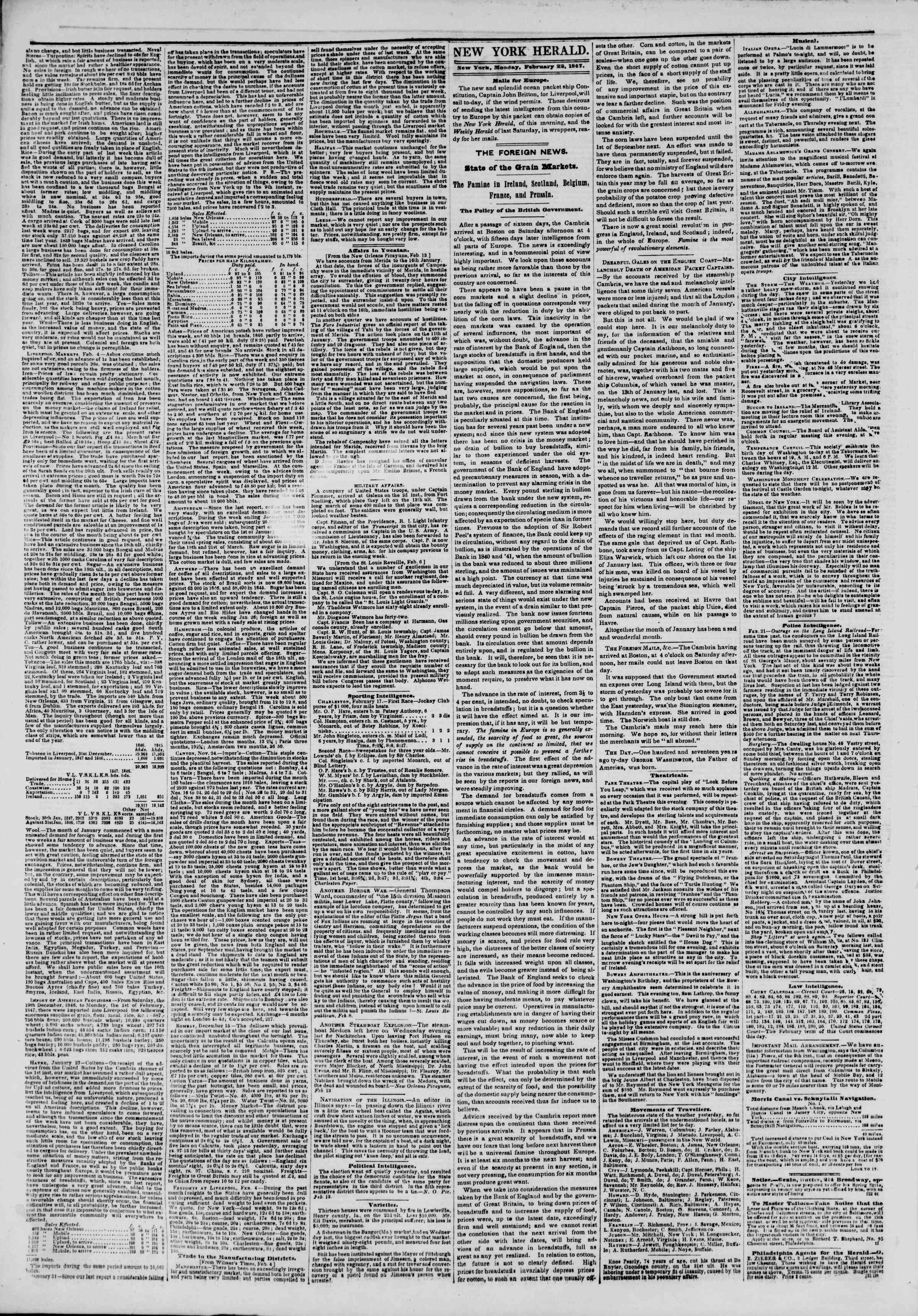 Newspaper of The New York Herald dated February 22, 1847 Page 2