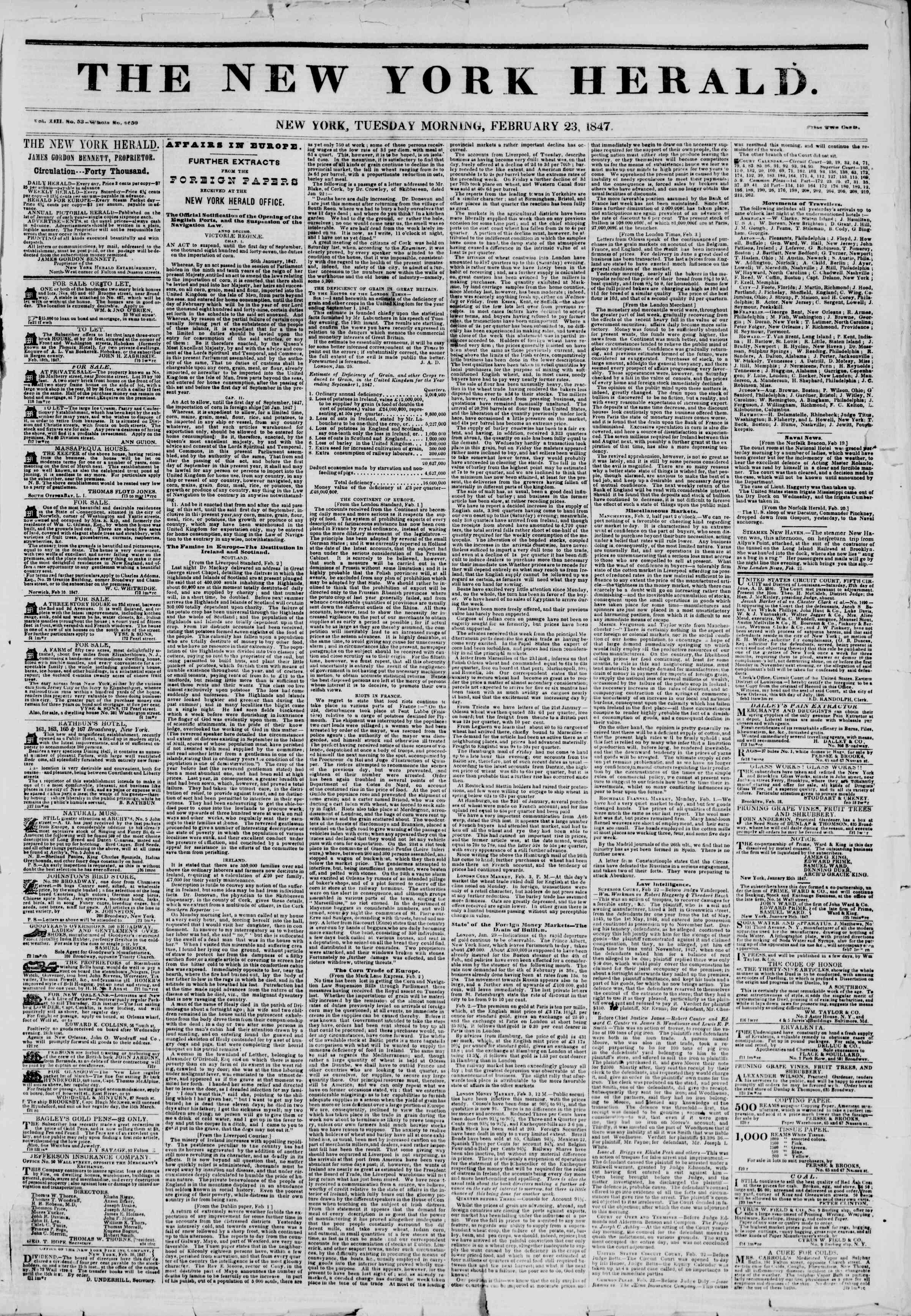 Newspaper of The New York Herald dated February 23, 1847 Page 1