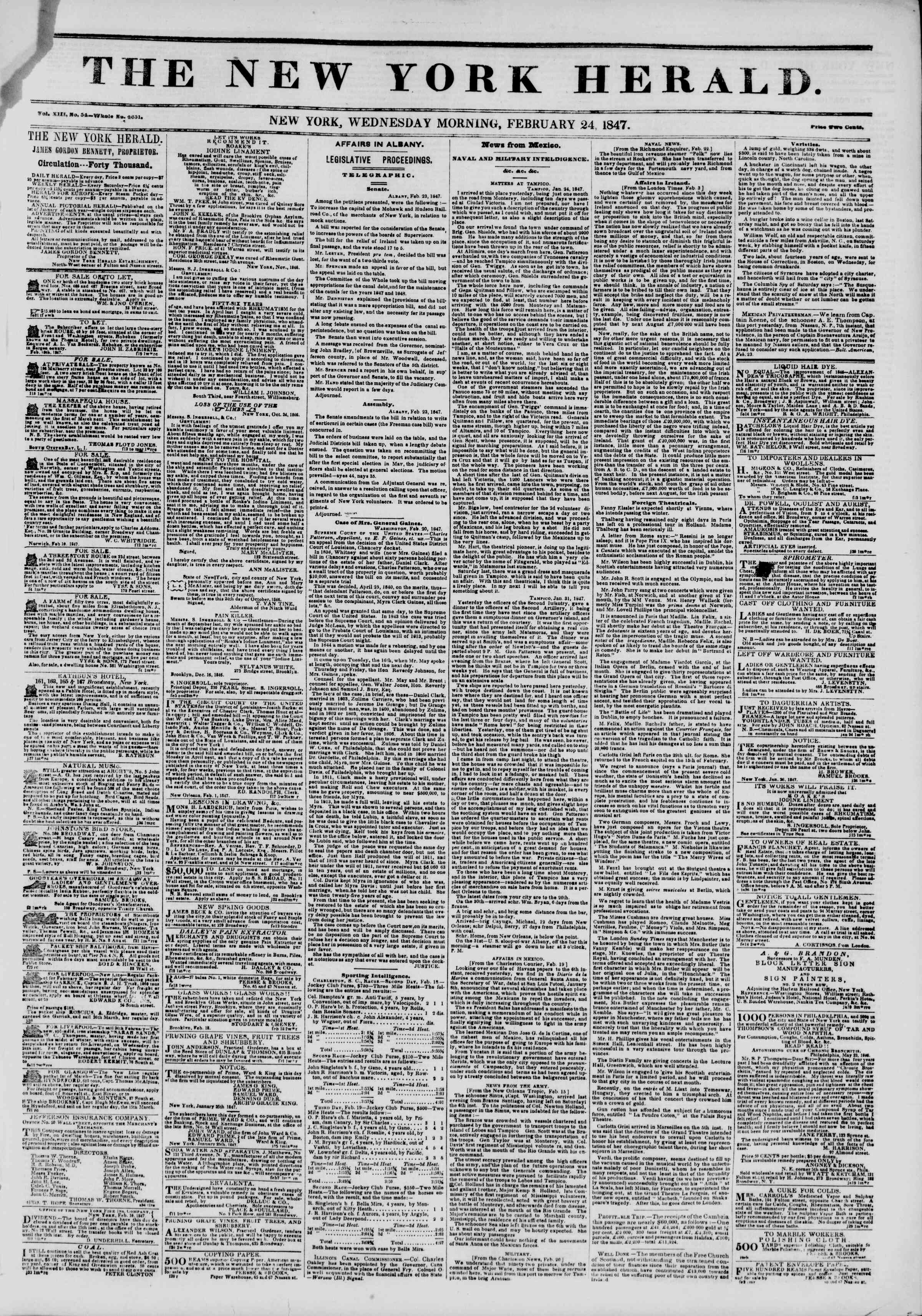 Newspaper of The New York Herald dated February 24, 1847 Page 1