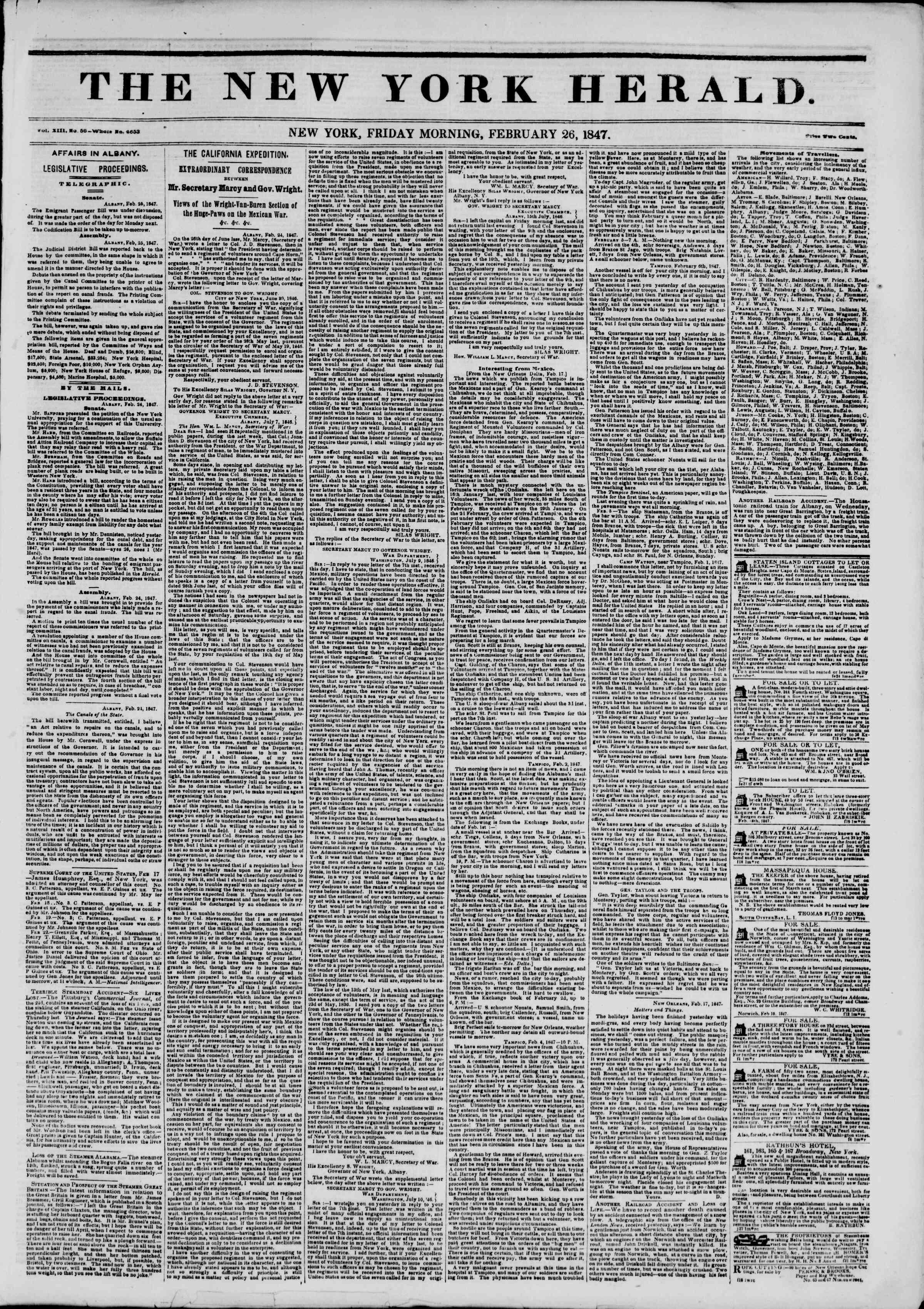 26 Şubat 1847 tarihli The New York Herald Gazetesi Sayfa 1