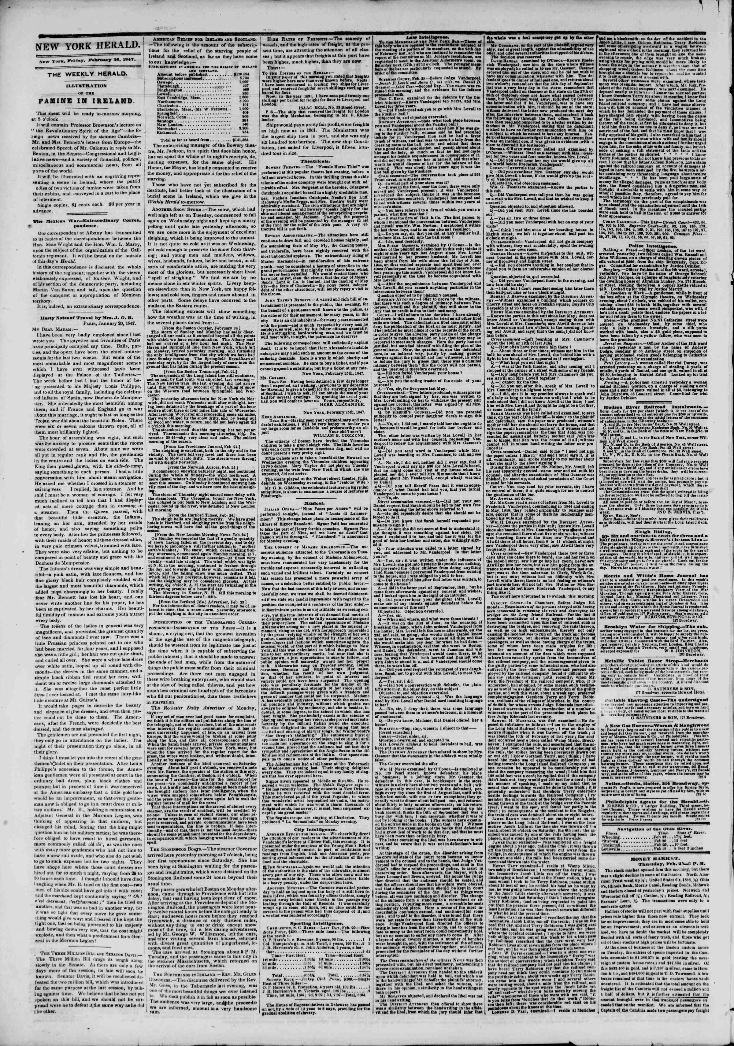 Newspaper of The New York Herald dated February 26, 1847 Page 2