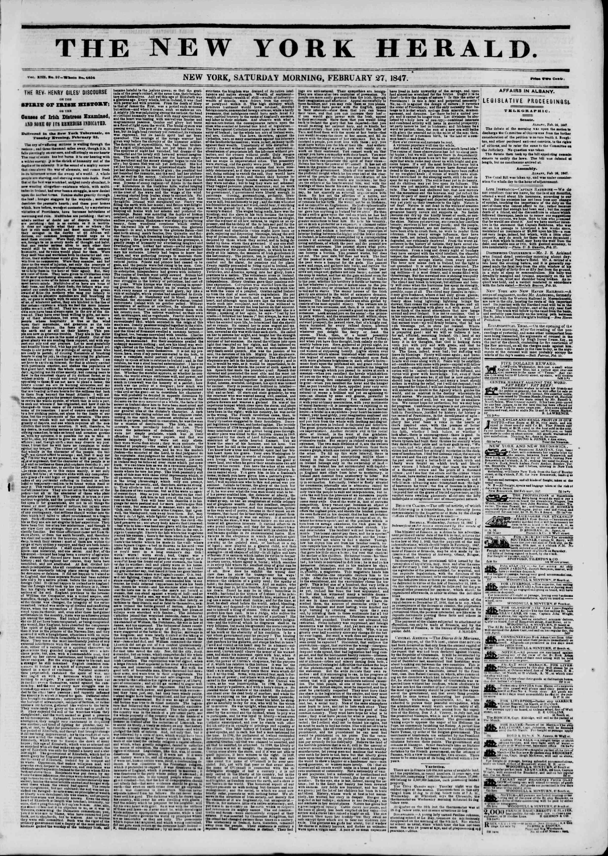 27 Şubat 1847 tarihli The New York Herald Gazetesi Sayfa 1