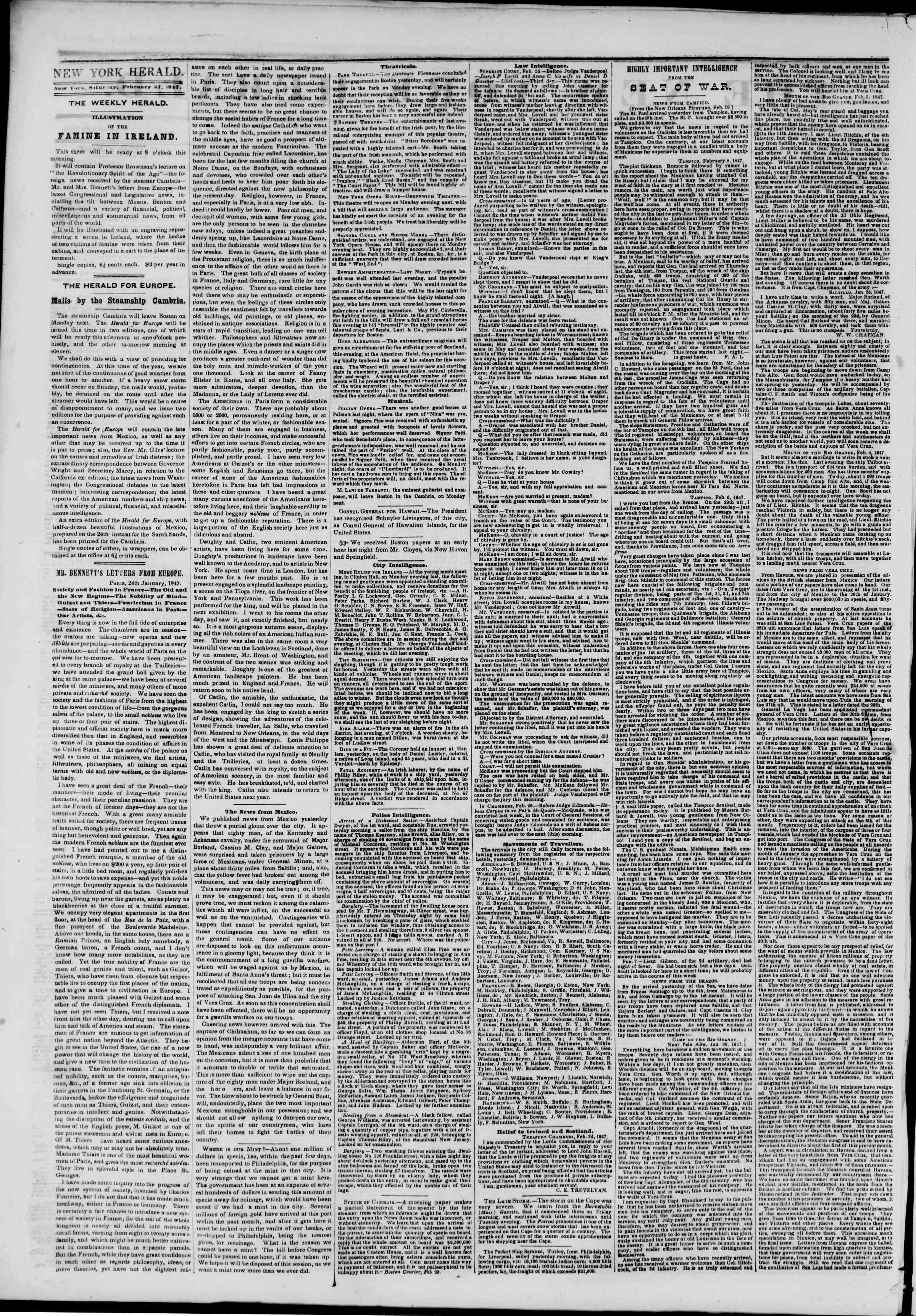 27 Şubat 1847 tarihli The New York Herald Gazetesi Sayfa 2