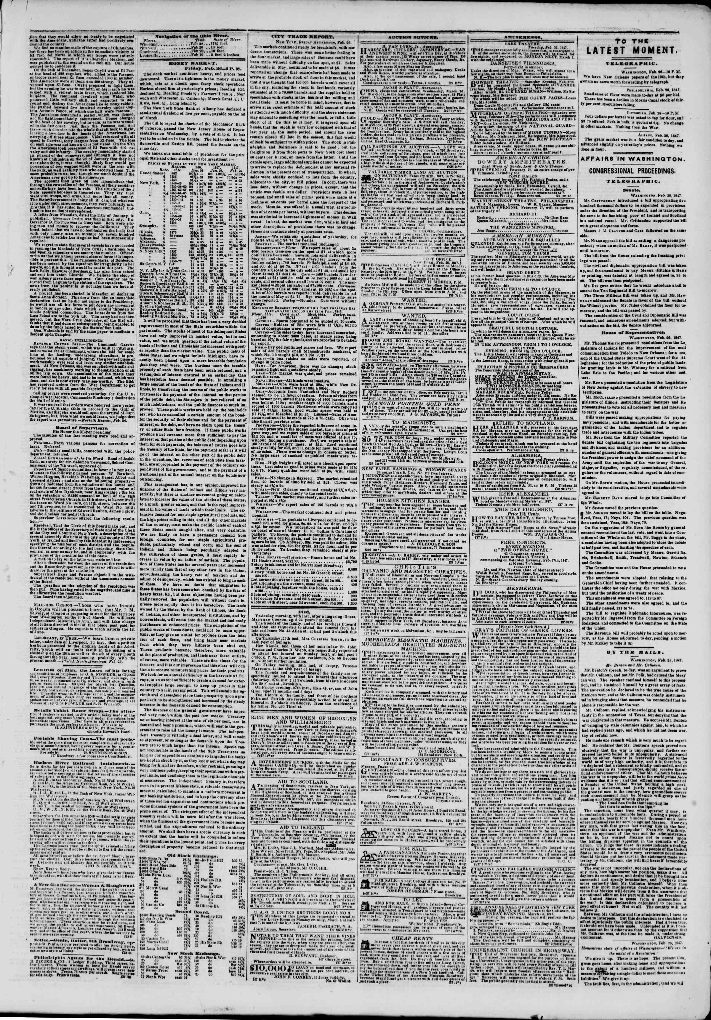 27 Şubat 1847 tarihli The New York Herald Gazetesi Sayfa 3
