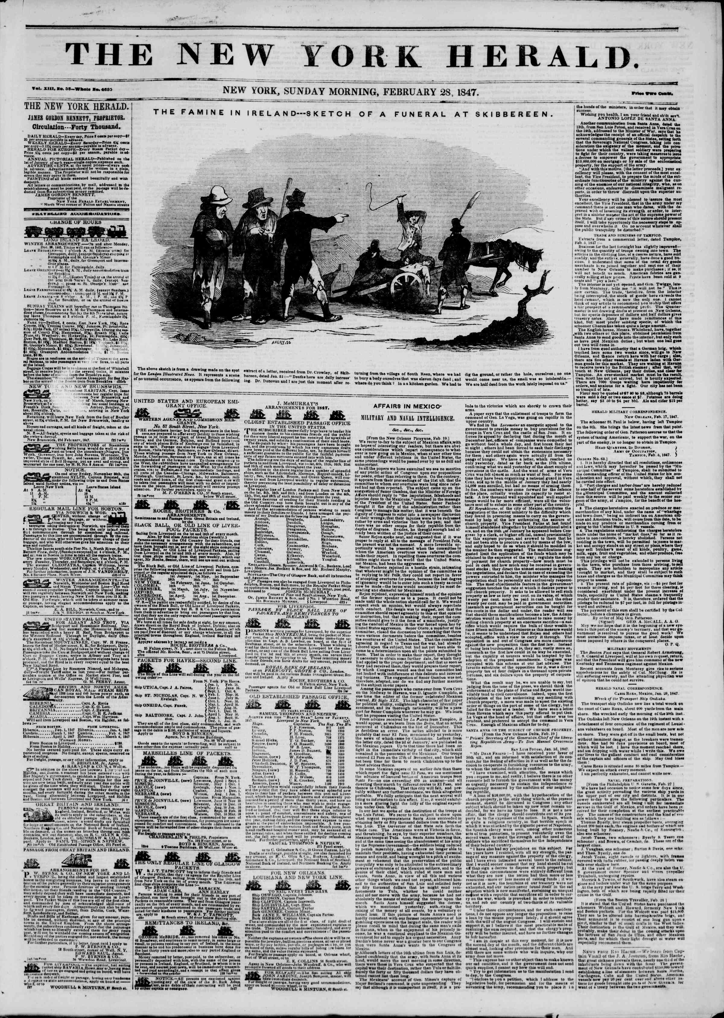 Newspaper of The New York Herald dated February 28, 1847 Page 1
