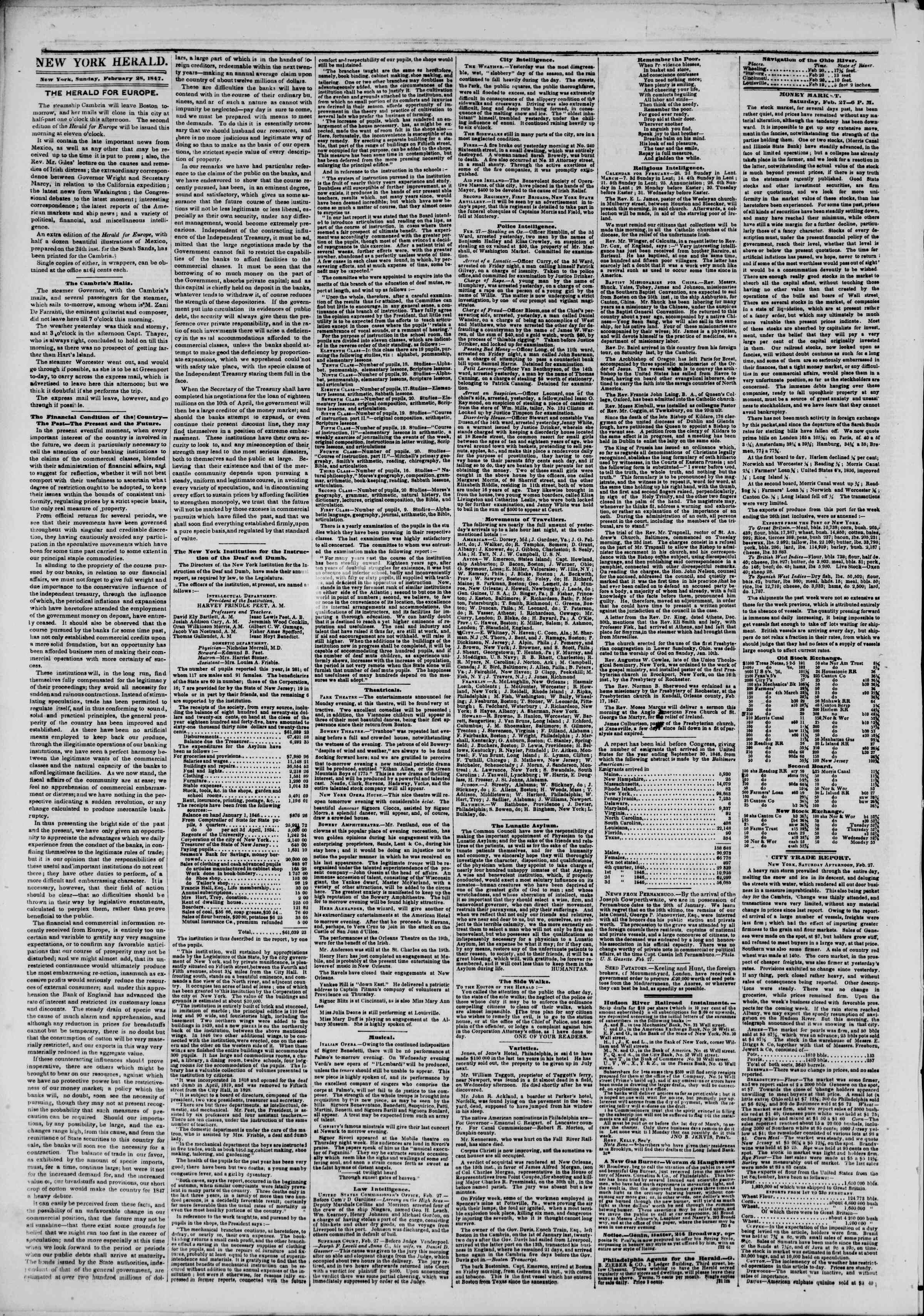 Newspaper of The New York Herald dated February 28, 1847 Page 2