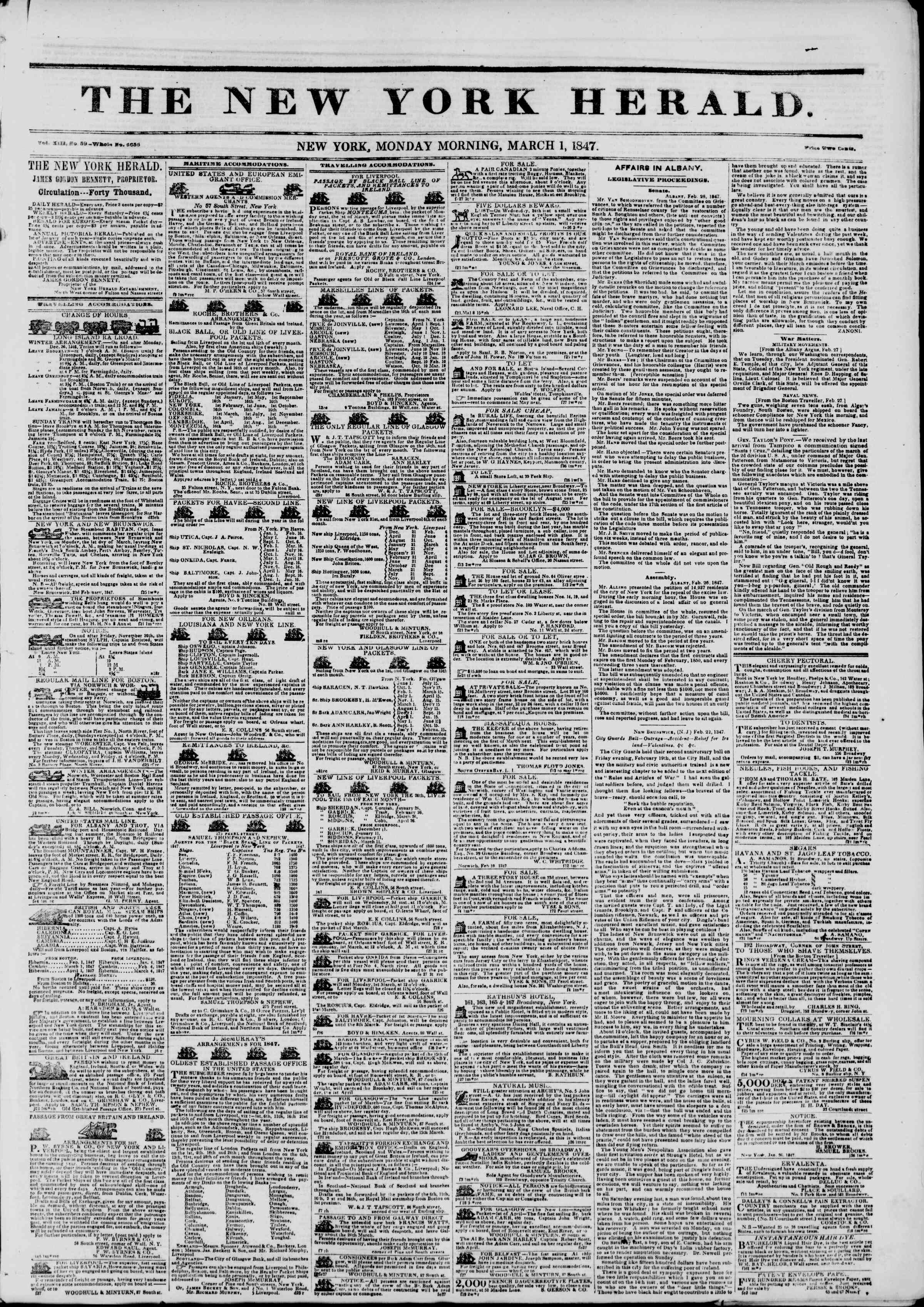Newspaper of The New York Herald dated March 1, 1847 Page 1