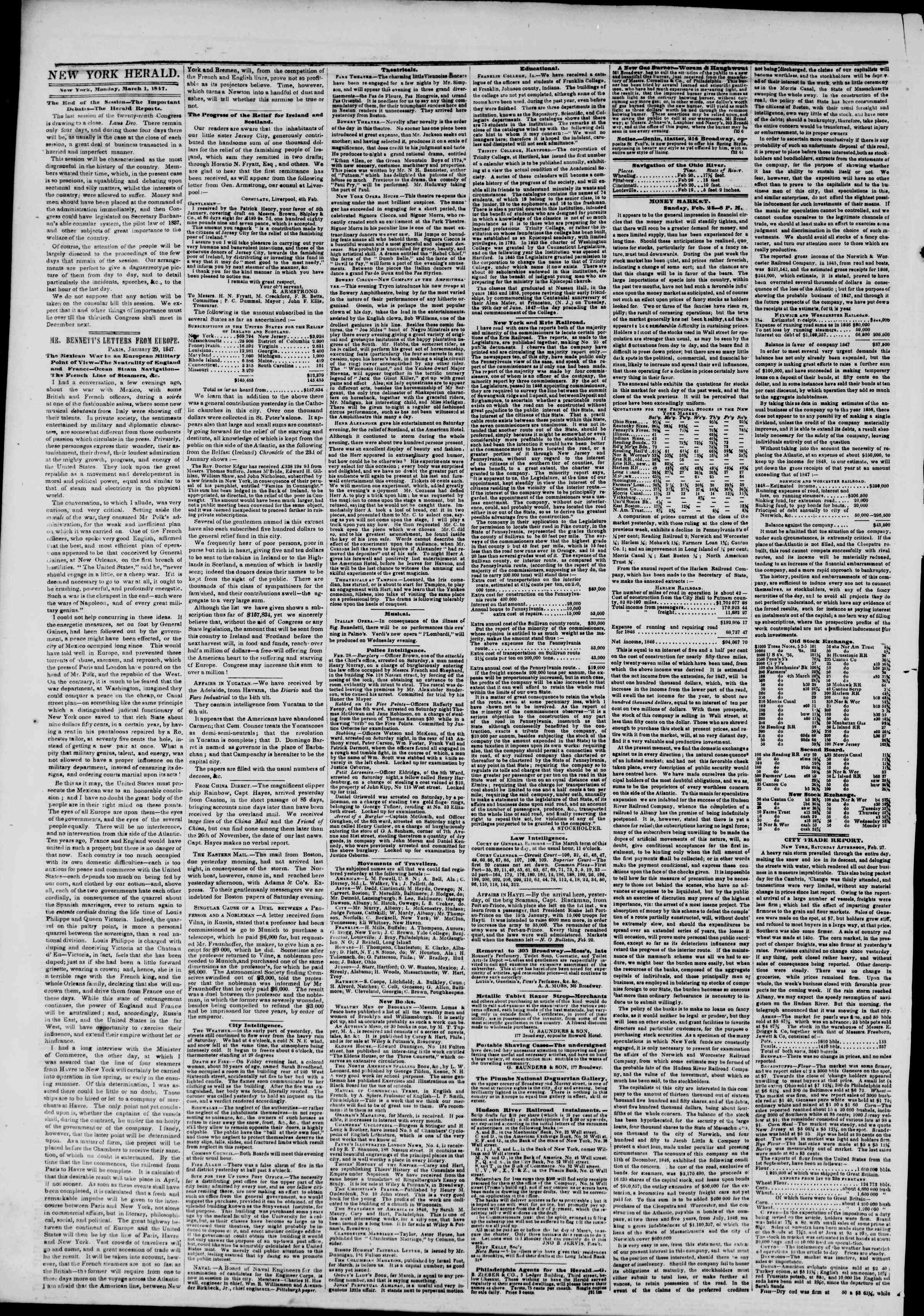 Newspaper of The New York Herald dated March 1, 1847 Page 2