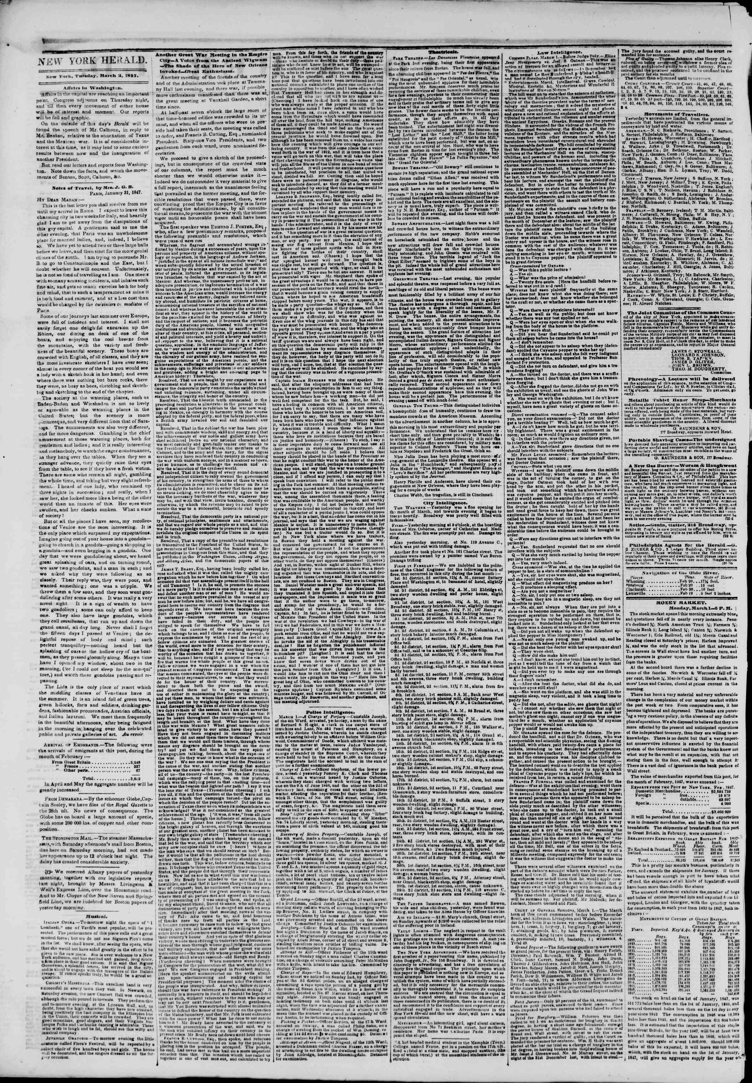 Newspaper of The New York Herald dated March 2, 1847 Page 2