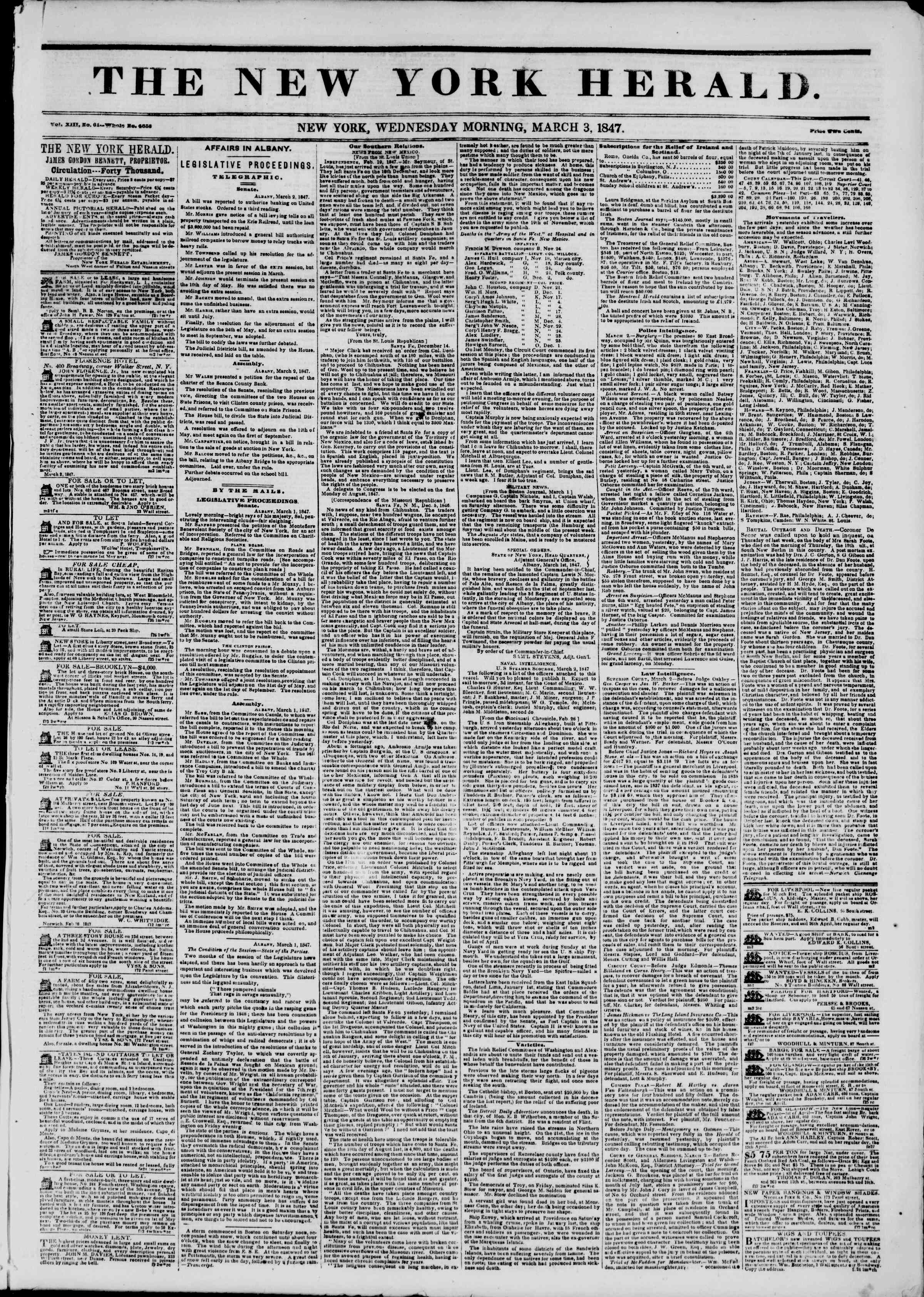 Newspaper of The New York Herald dated March 3, 1847 Page 1