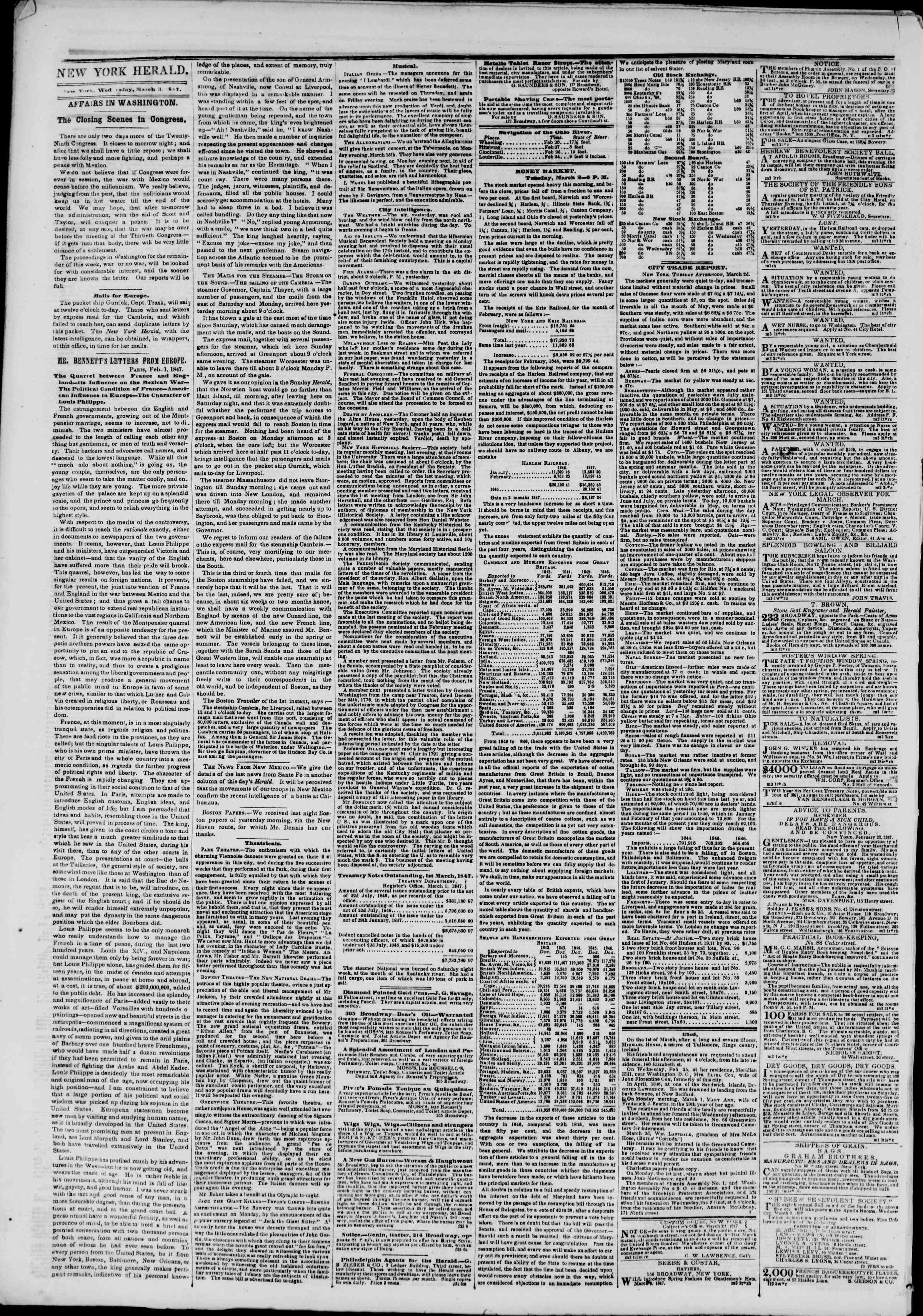 Newspaper of The New York Herald dated March 3, 1847 Page 2