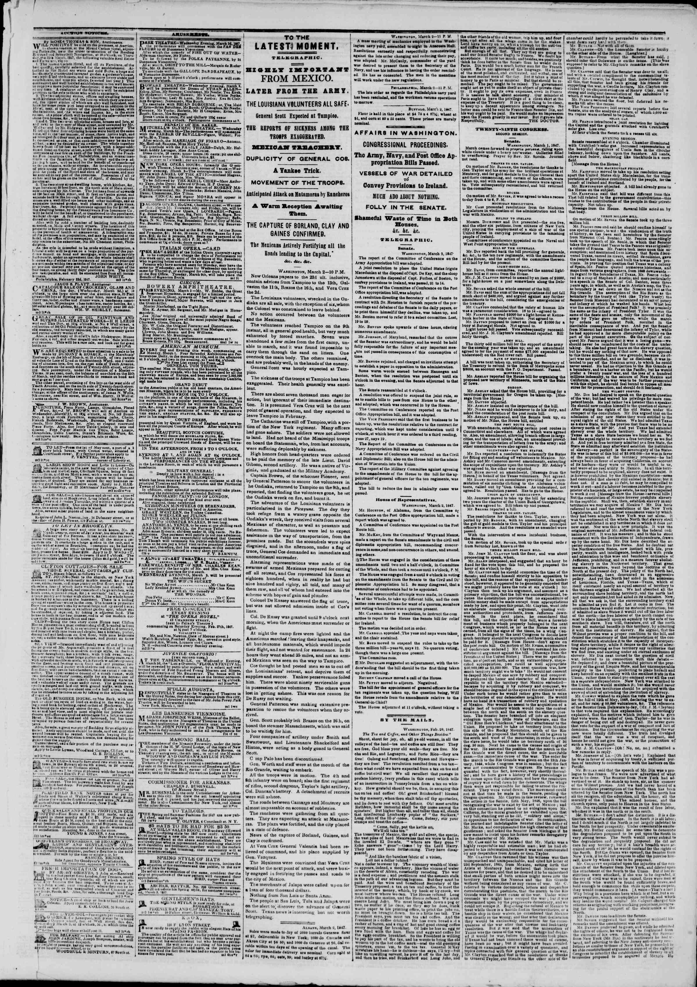 Newspaper of The New York Herald dated March 3, 1847 Page 3