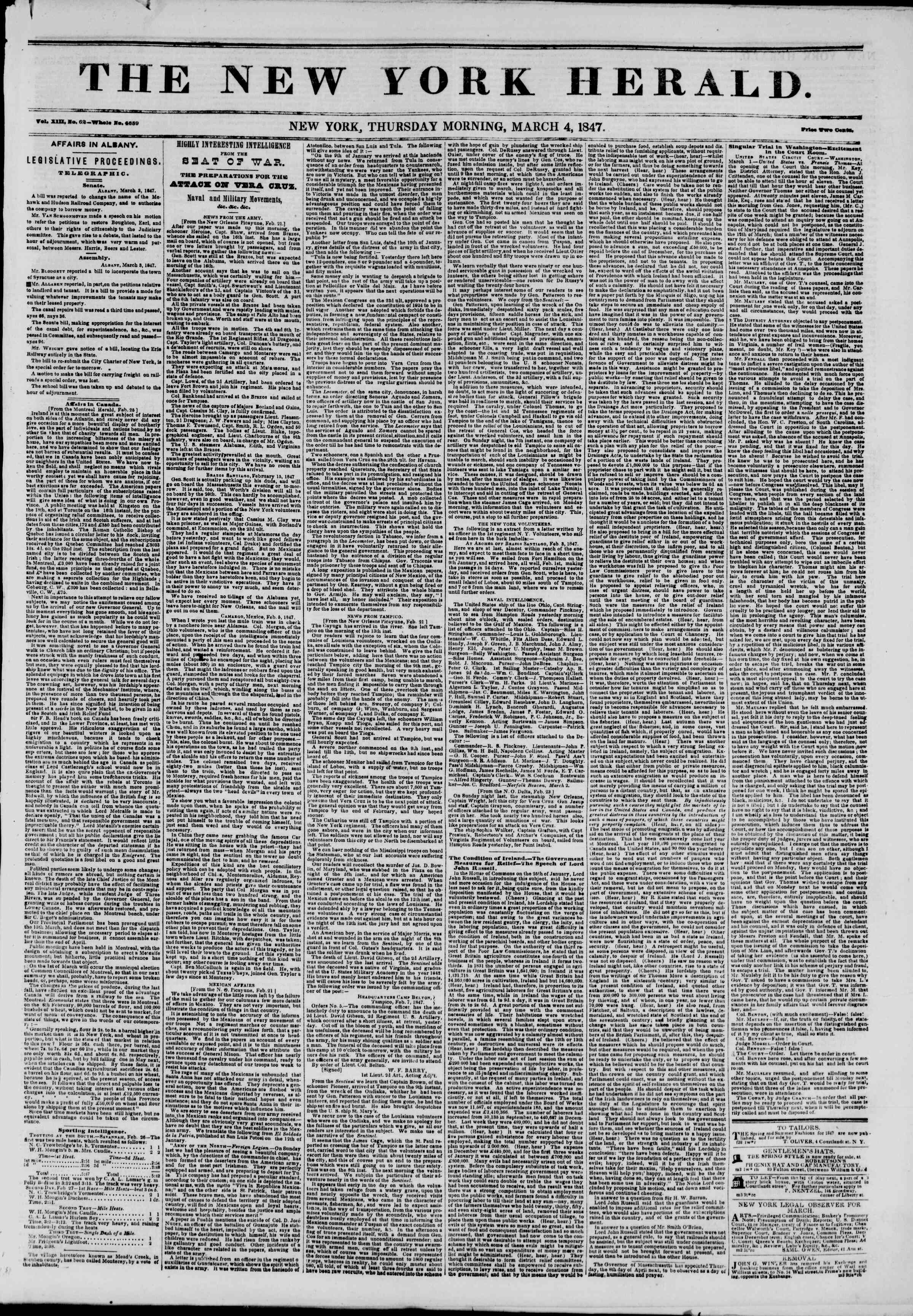Newspaper of The New York Herald dated March 4, 1847 Page 1