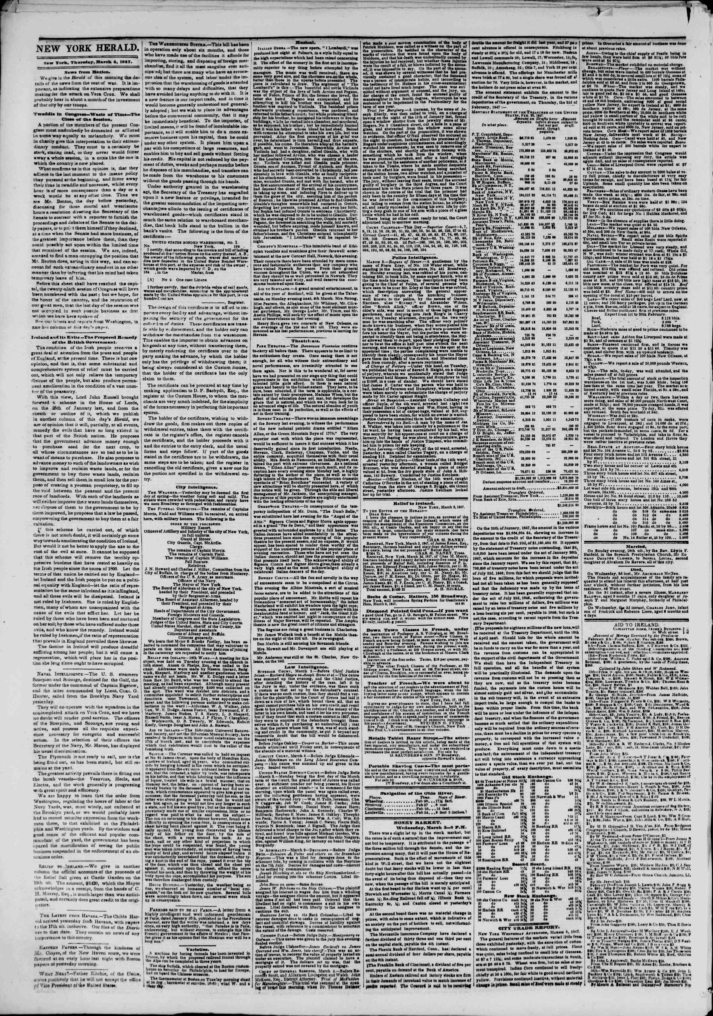 Newspaper of The New York Herald dated March 4, 1847 Page 2