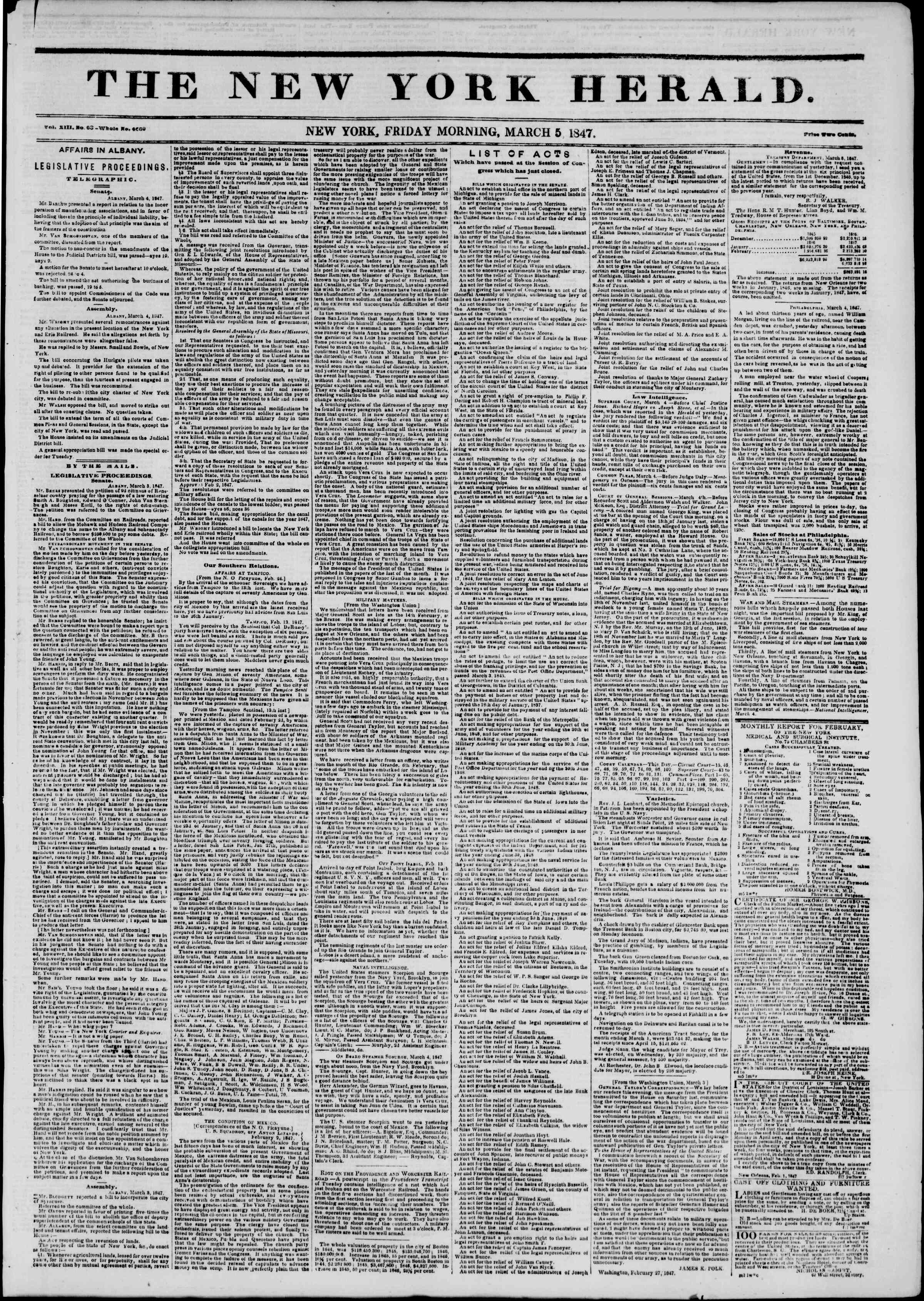 Newspaper of The New York Herald dated March 5, 1847 Page 1