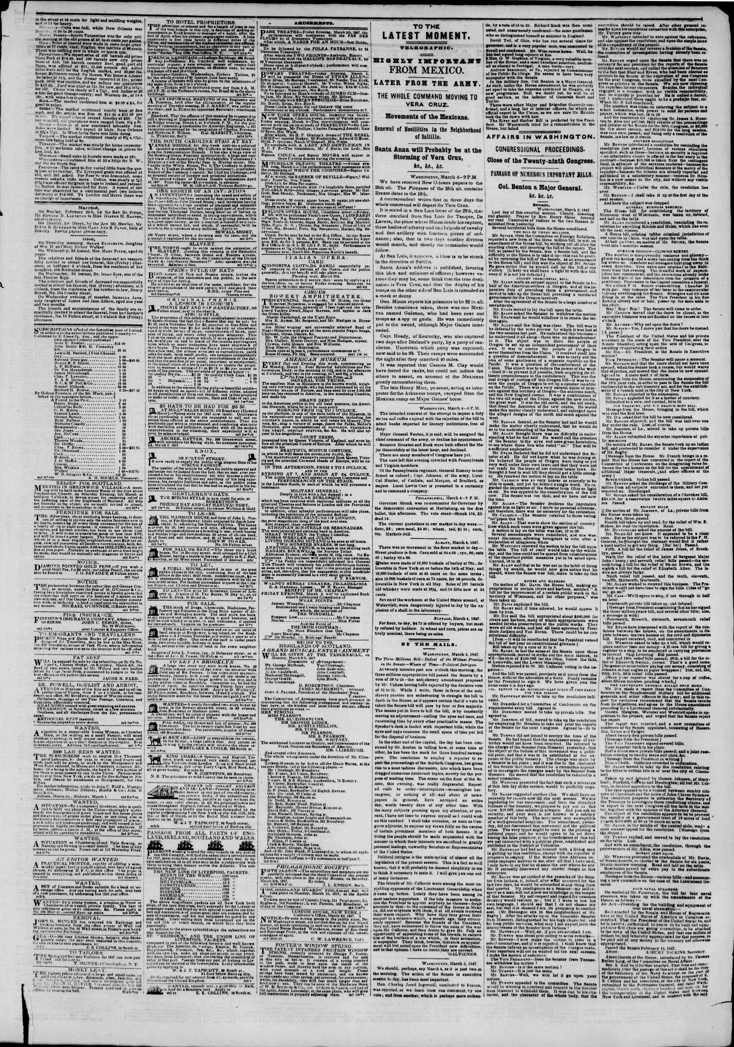 Newspaper of The New York Herald dated March 5, 1847 Page 3