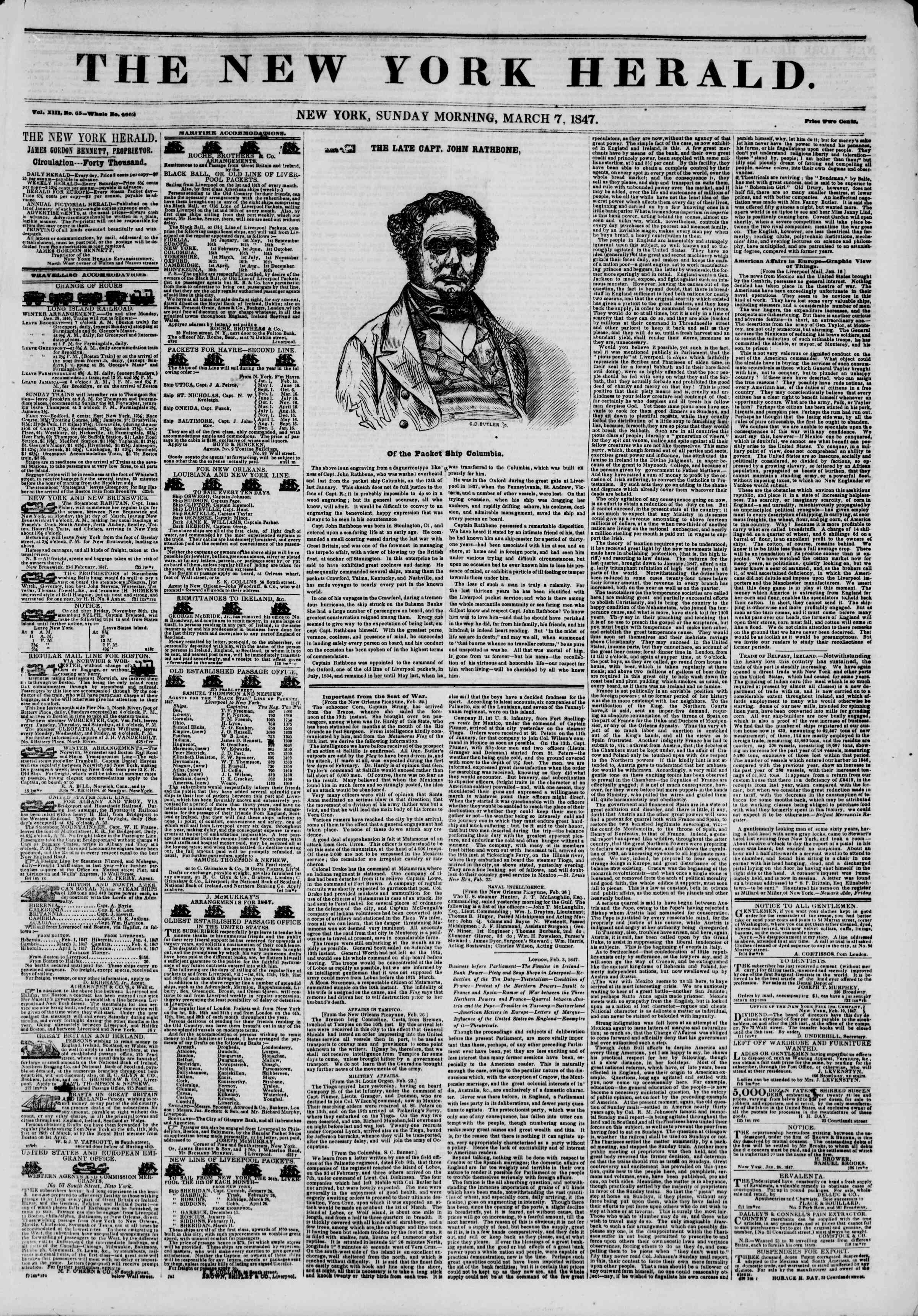 Newspaper of The New York Herald dated March 7, 1847 Page 1