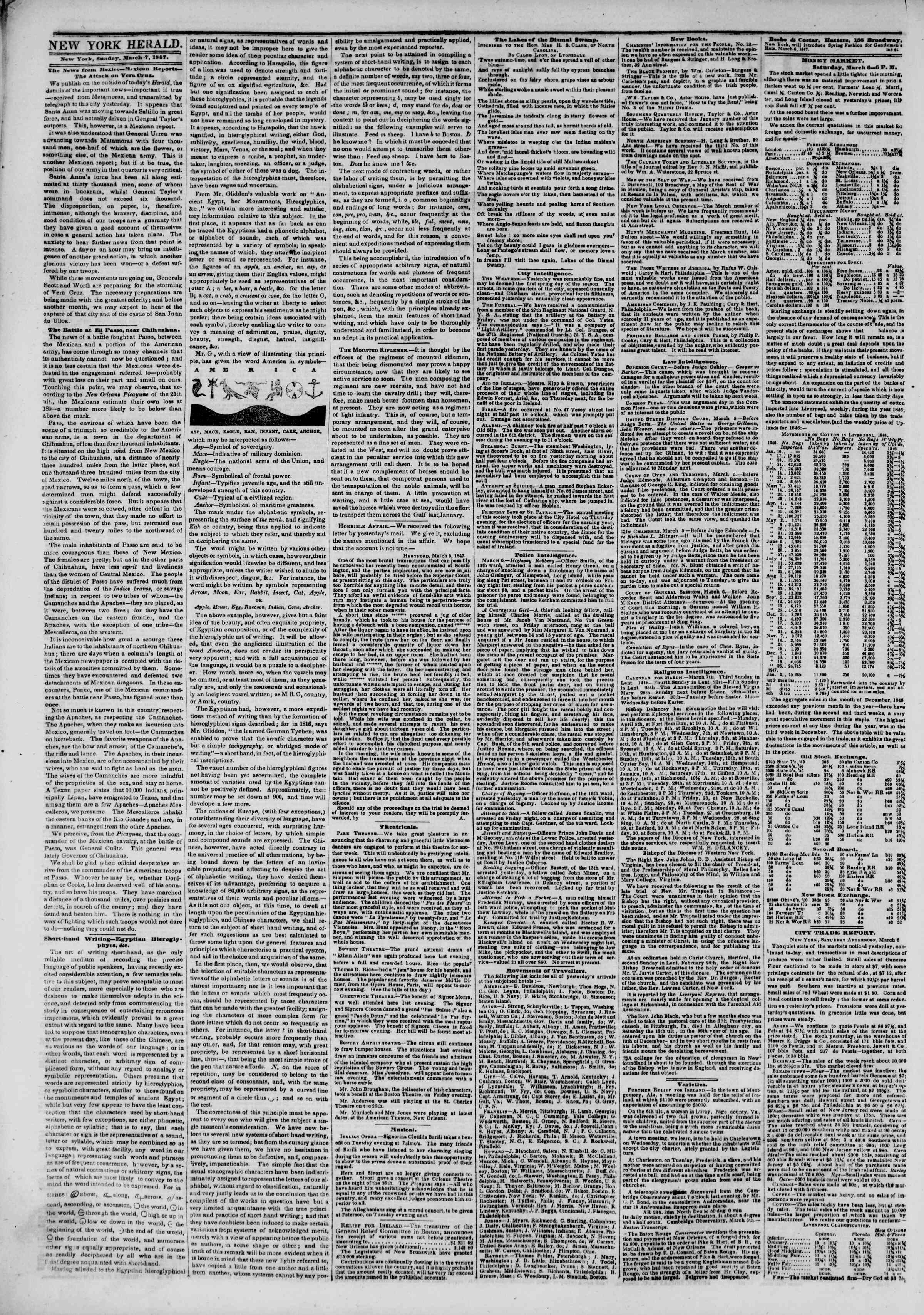 Newspaper of The New York Herald dated March 7, 1847 Page 2