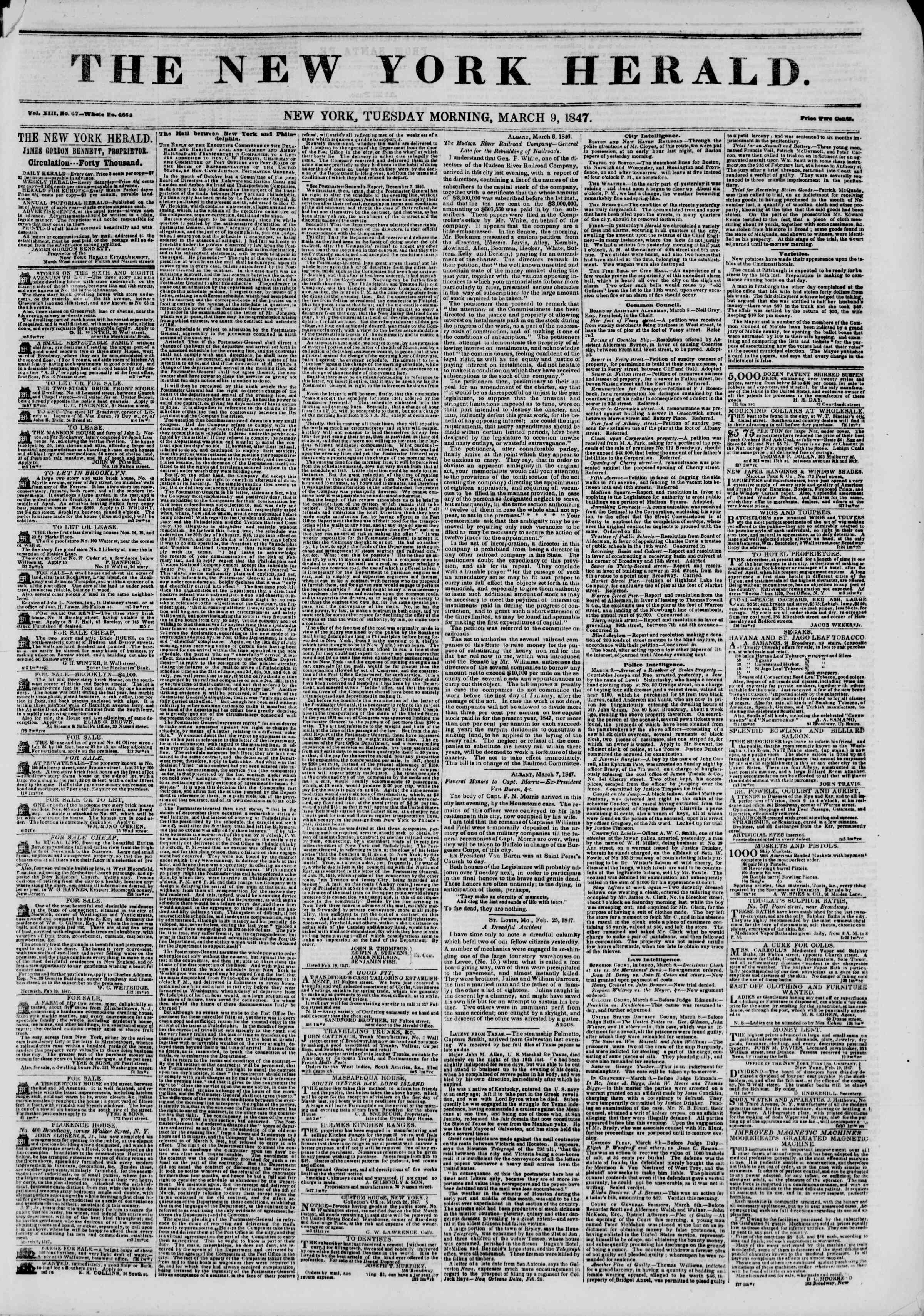 Newspaper of The New York Herald dated March 9, 1847 Page 1