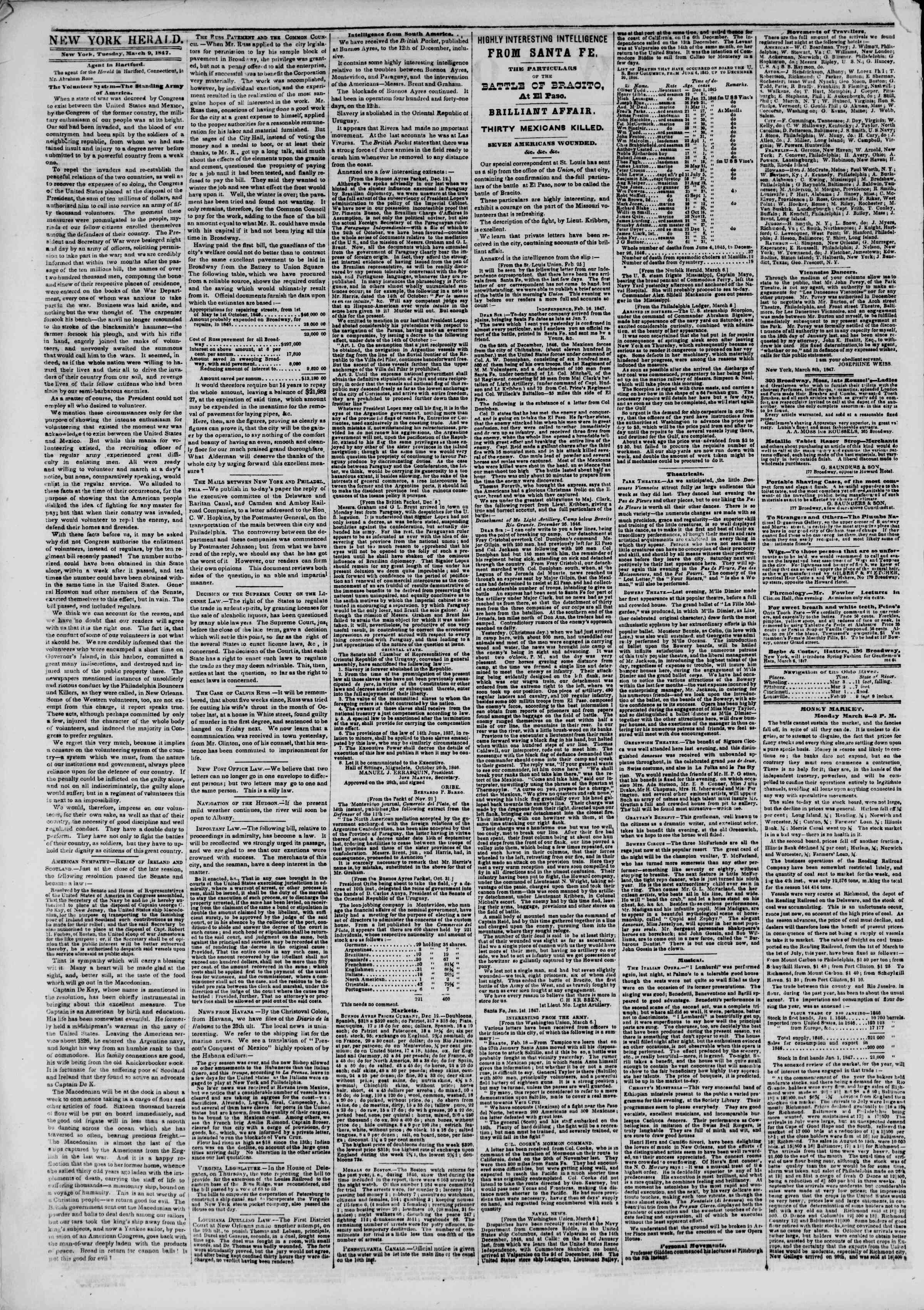 Newspaper of The New York Herald dated March 9, 1847 Page 2