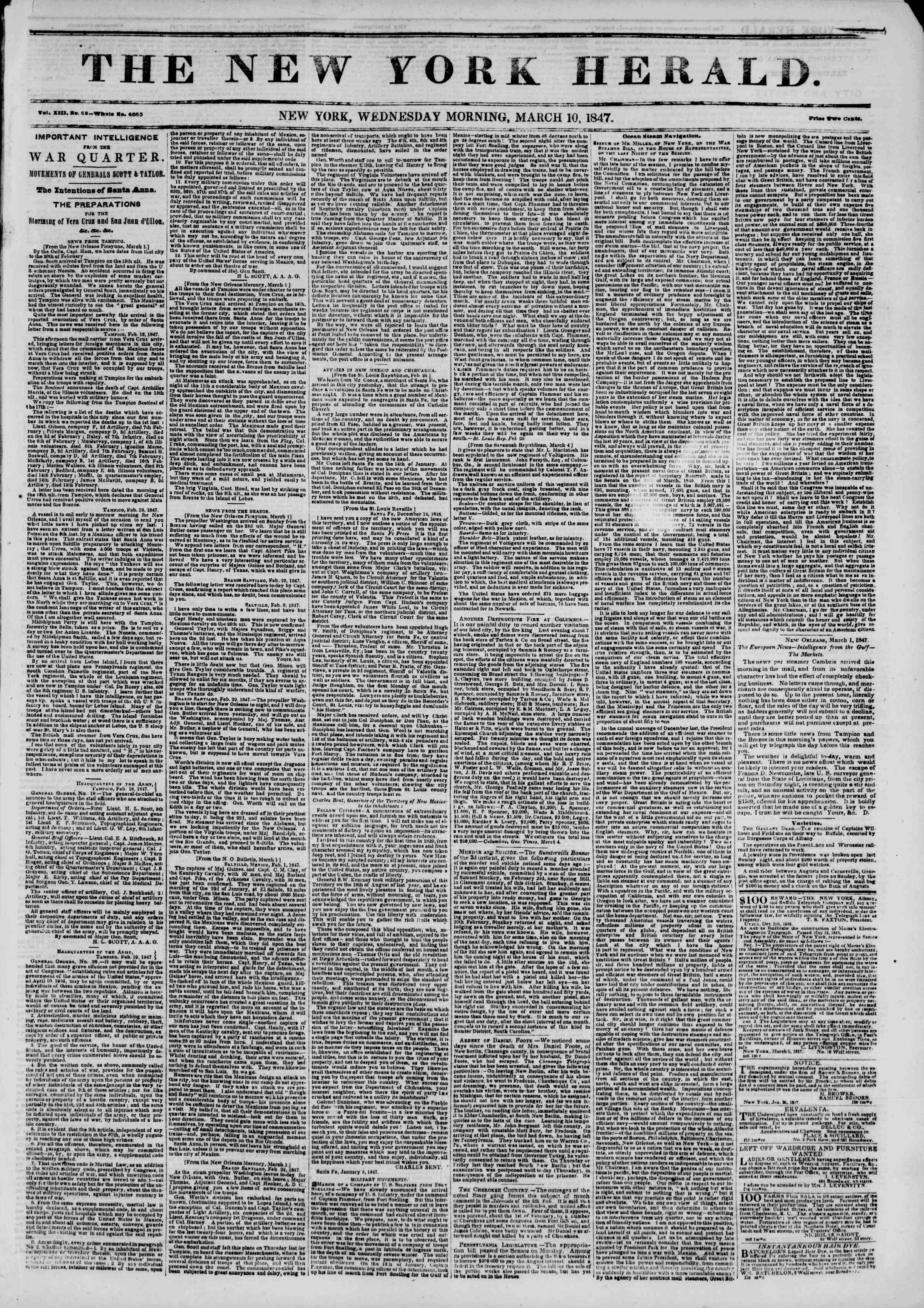 10 Mart 1847 tarihli The New York Herald Gazetesi Sayfa 1