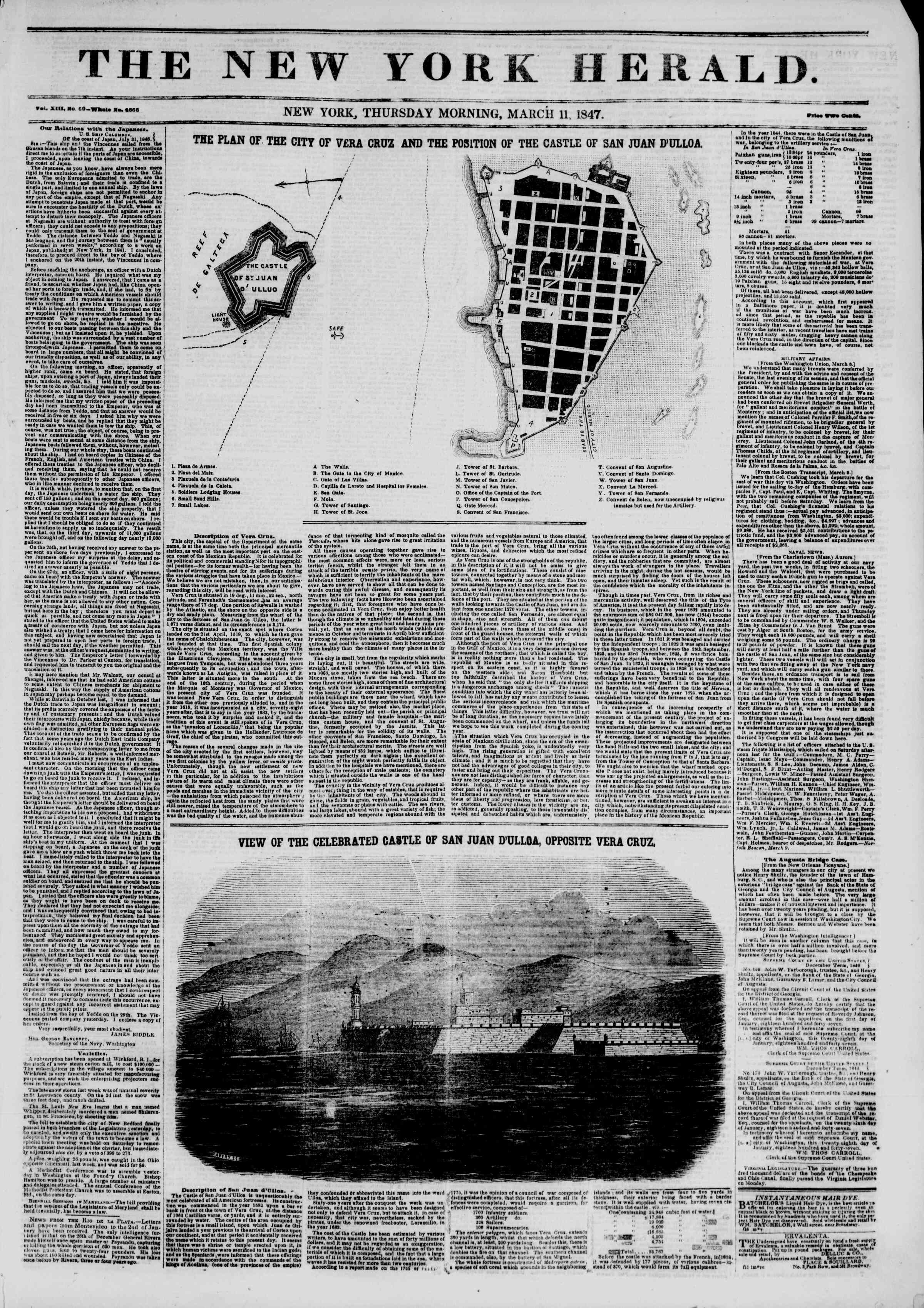 Newspaper of The New York Herald dated March 11, 1847 Page 1