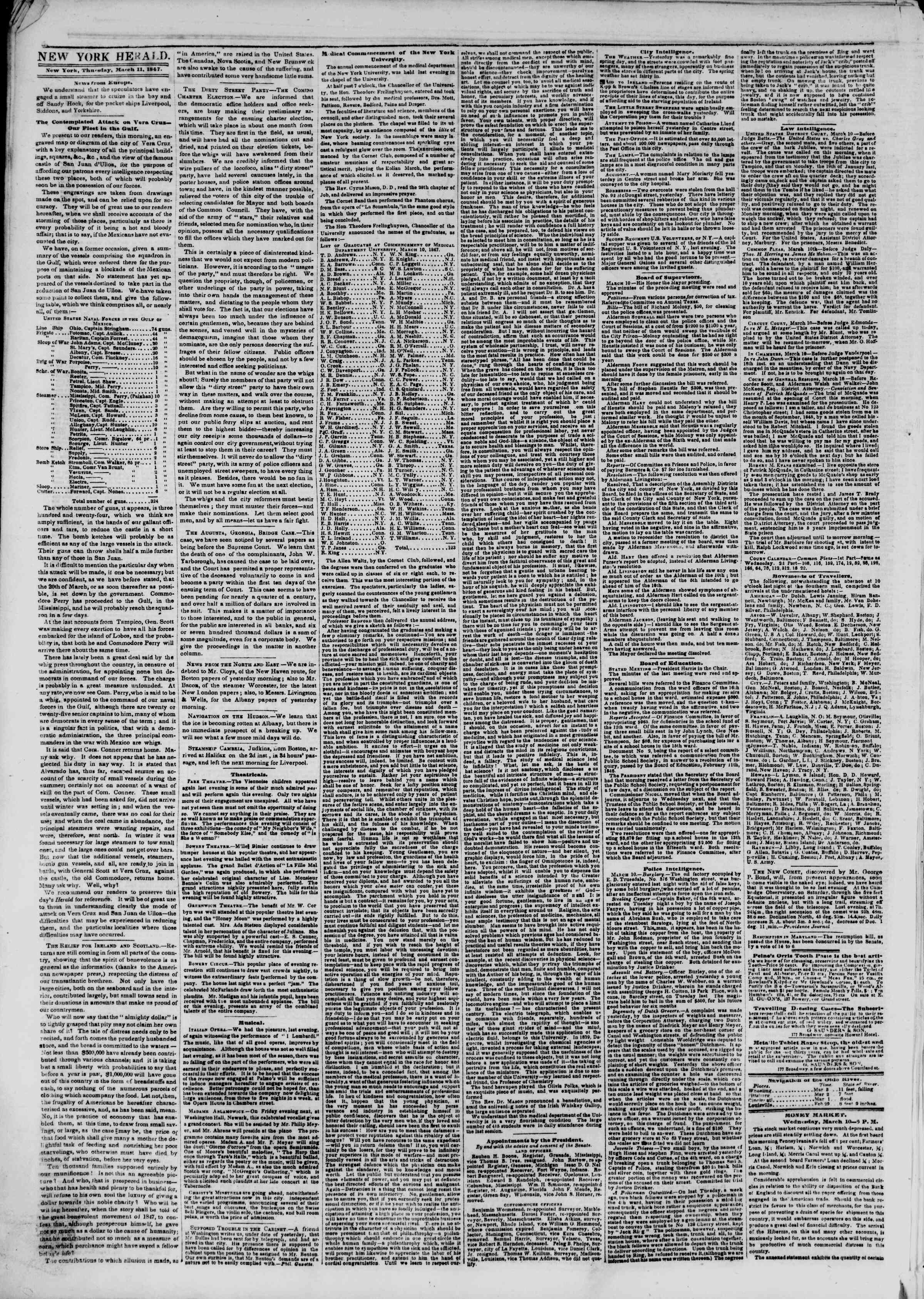 Newspaper of The New York Herald dated March 11, 1847 Page 2