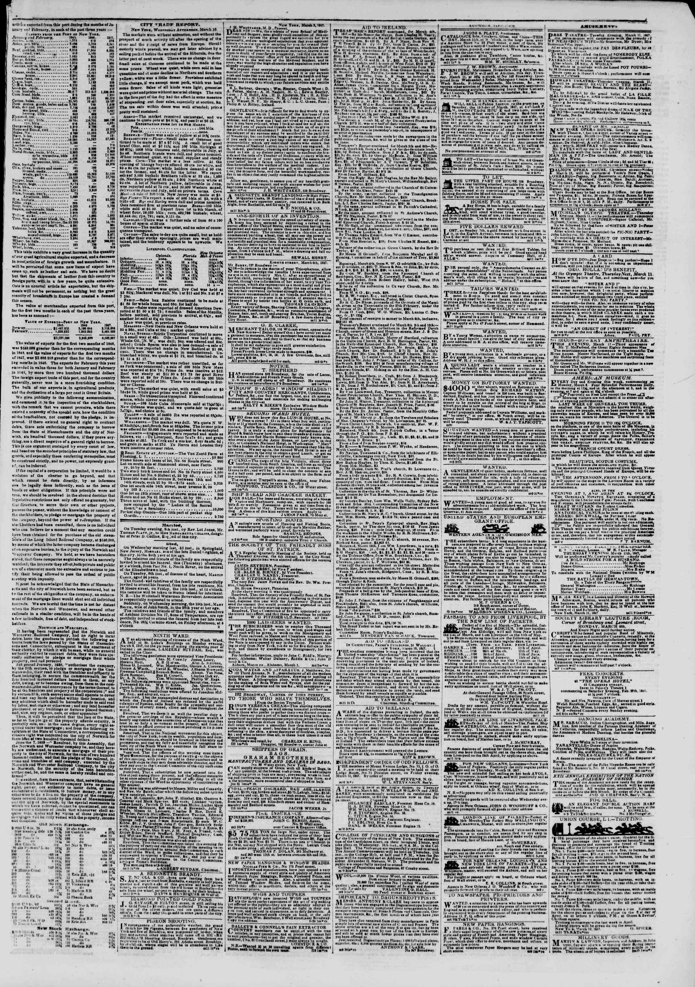 Newspaper of The New York Herald dated March 11, 1847 Page 3