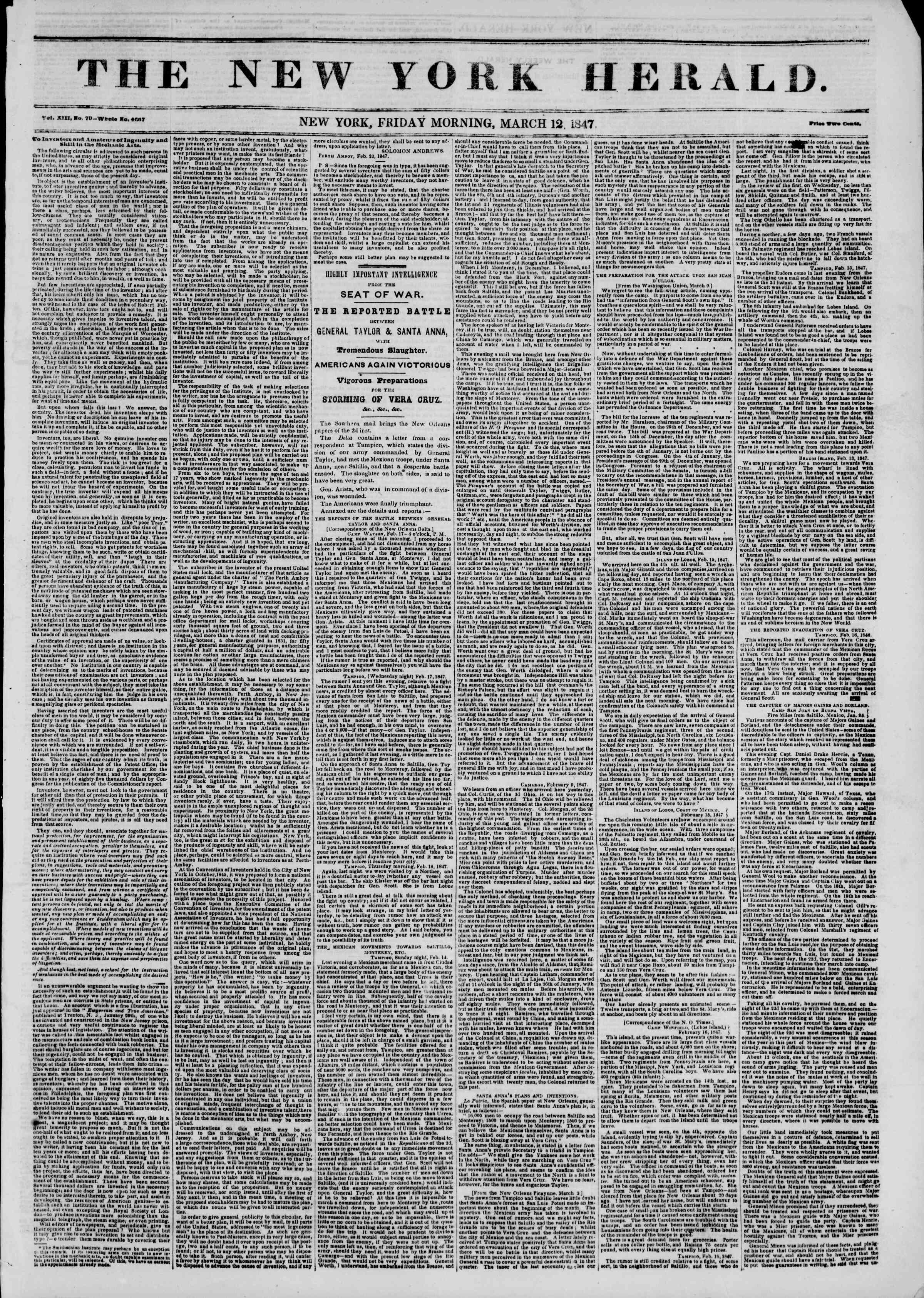 Newspaper of The New York Herald dated March 12, 1847 Page 1