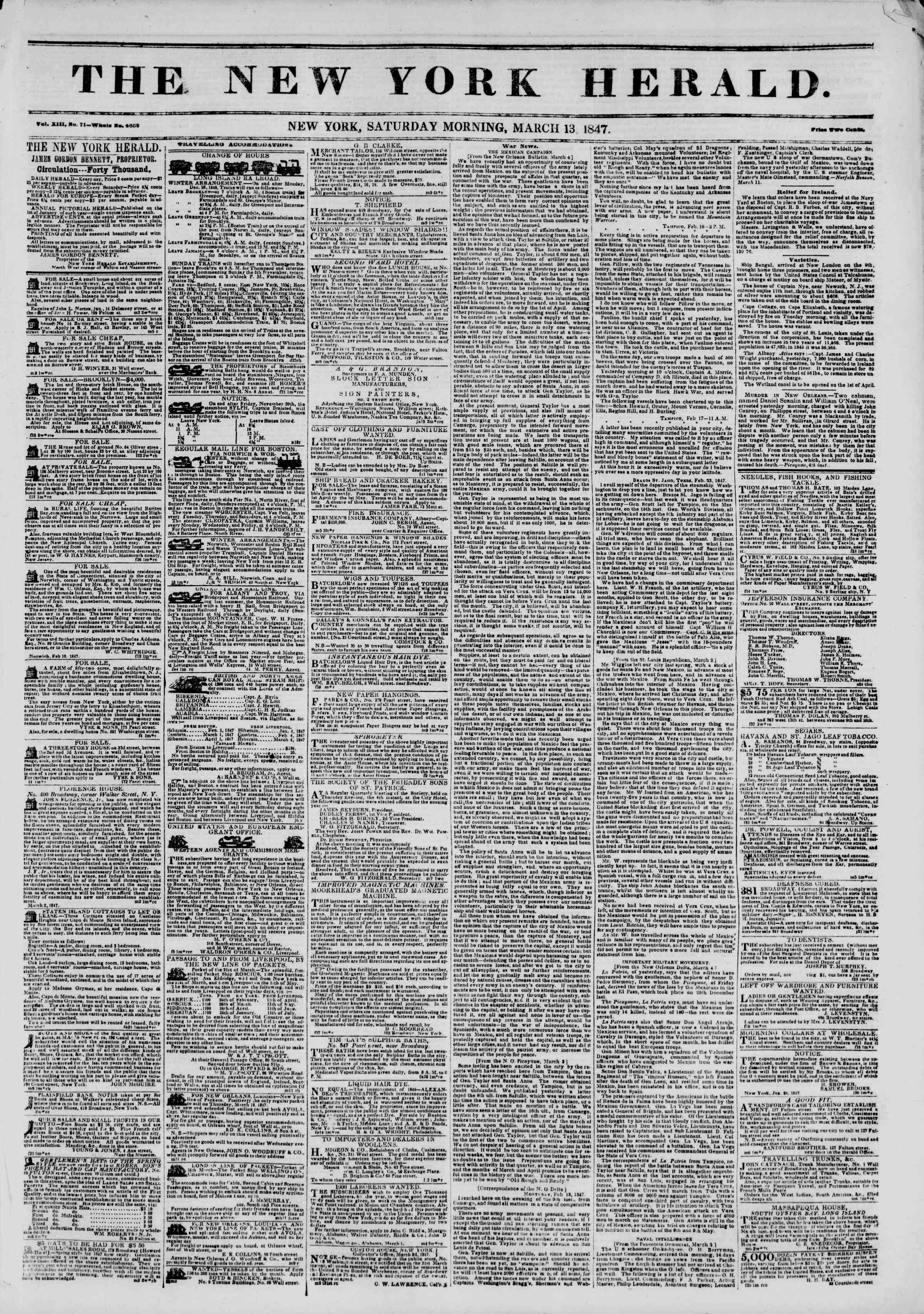 Newspaper of The New York Herald dated March 13, 1847 Page 1