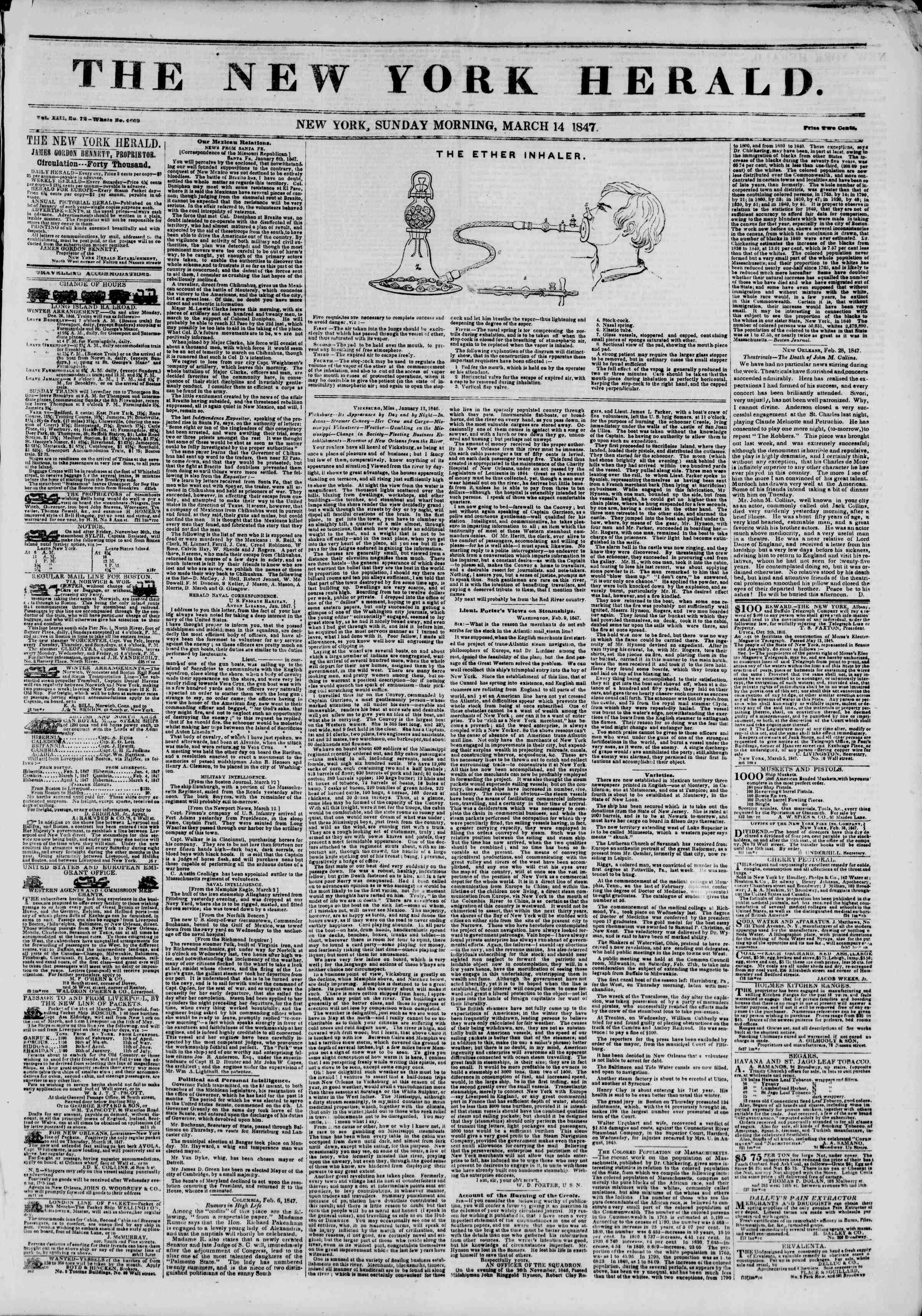 Newspaper of The New York Herald dated March 14, 1847 Page 1