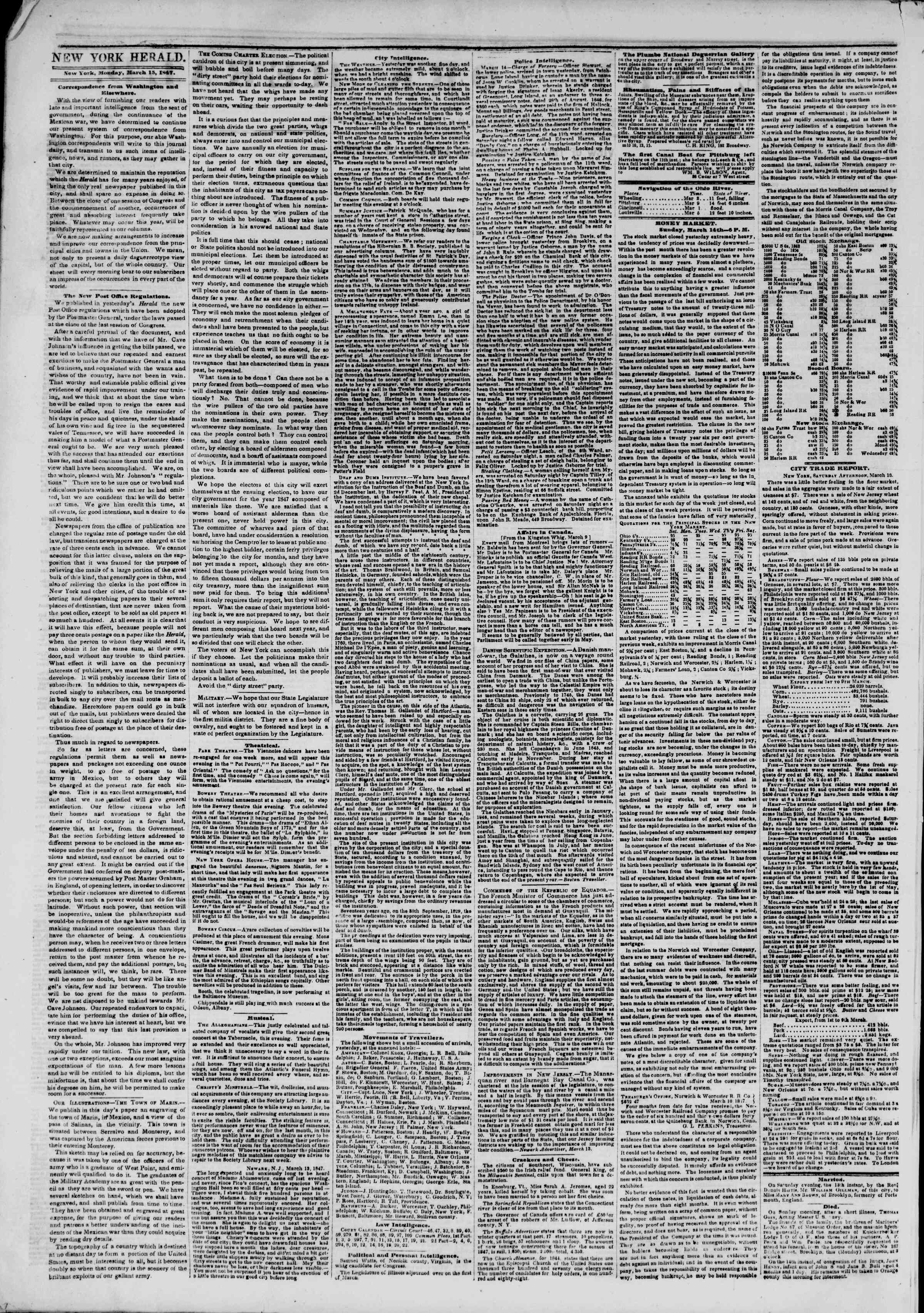 Newspaper of The New York Herald dated March 15, 1847 Page 2