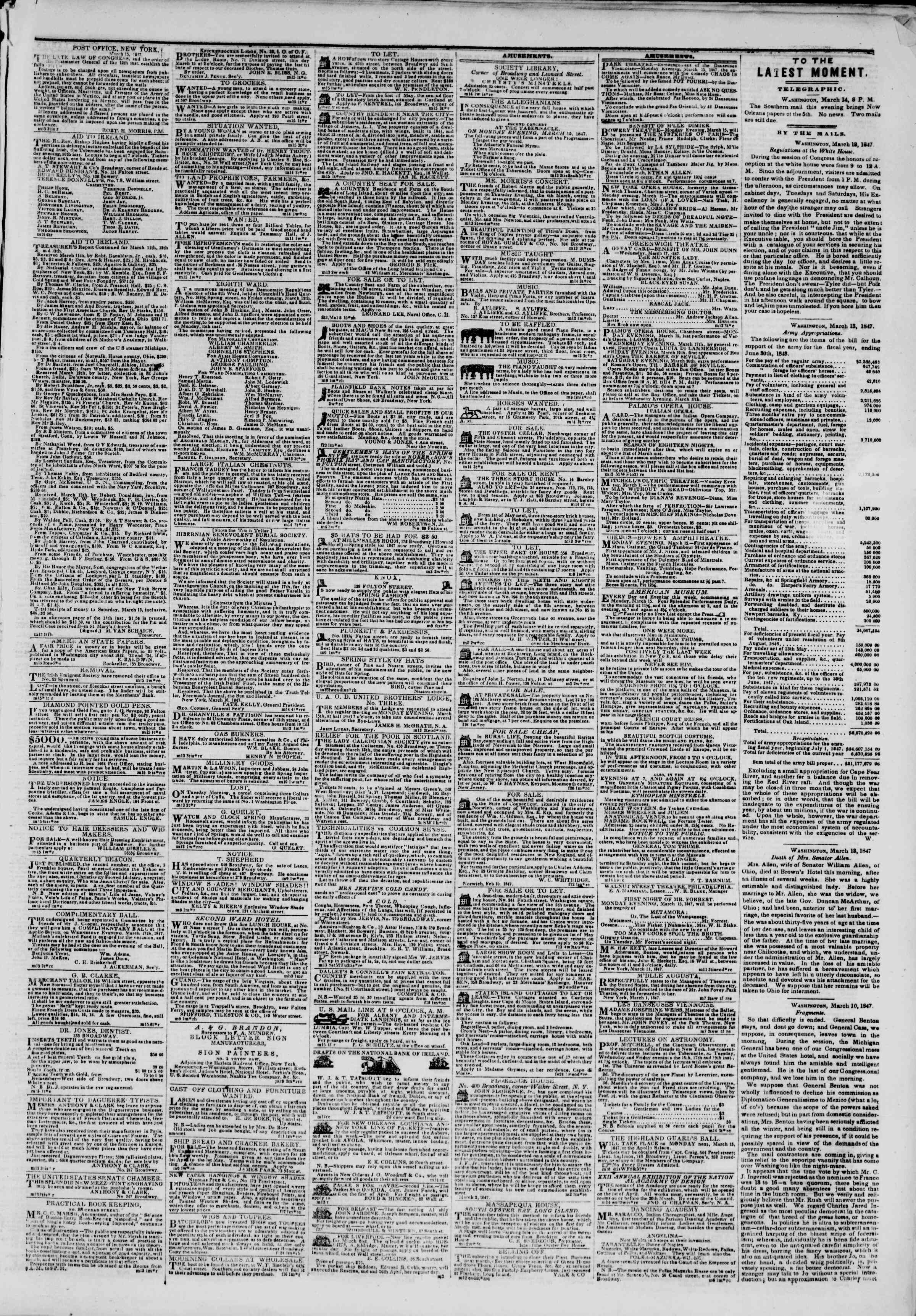 Newspaper of The New York Herald dated March 15, 1847 Page 3