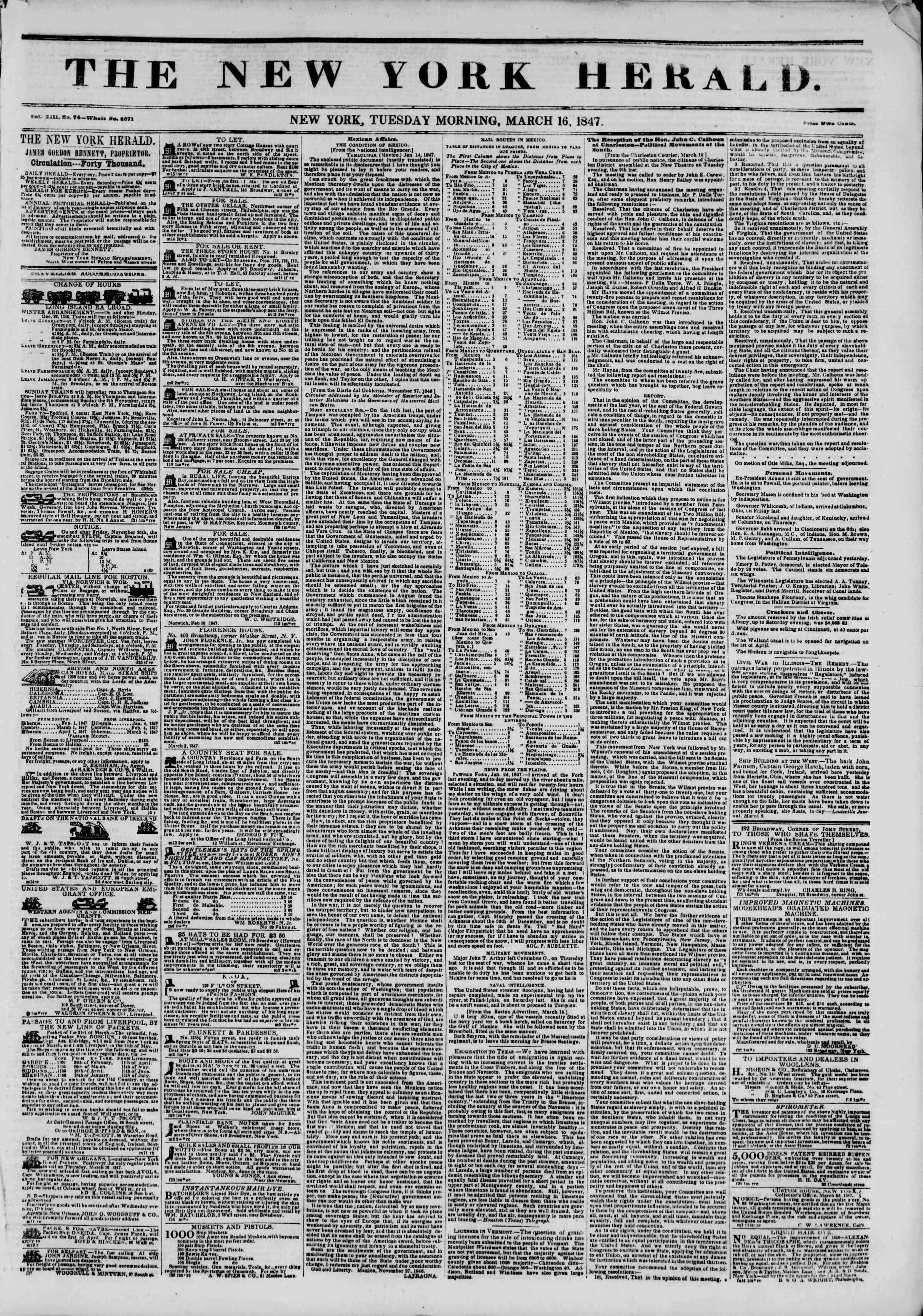 Newspaper of The New York Herald dated March 16, 1847 Page 1
