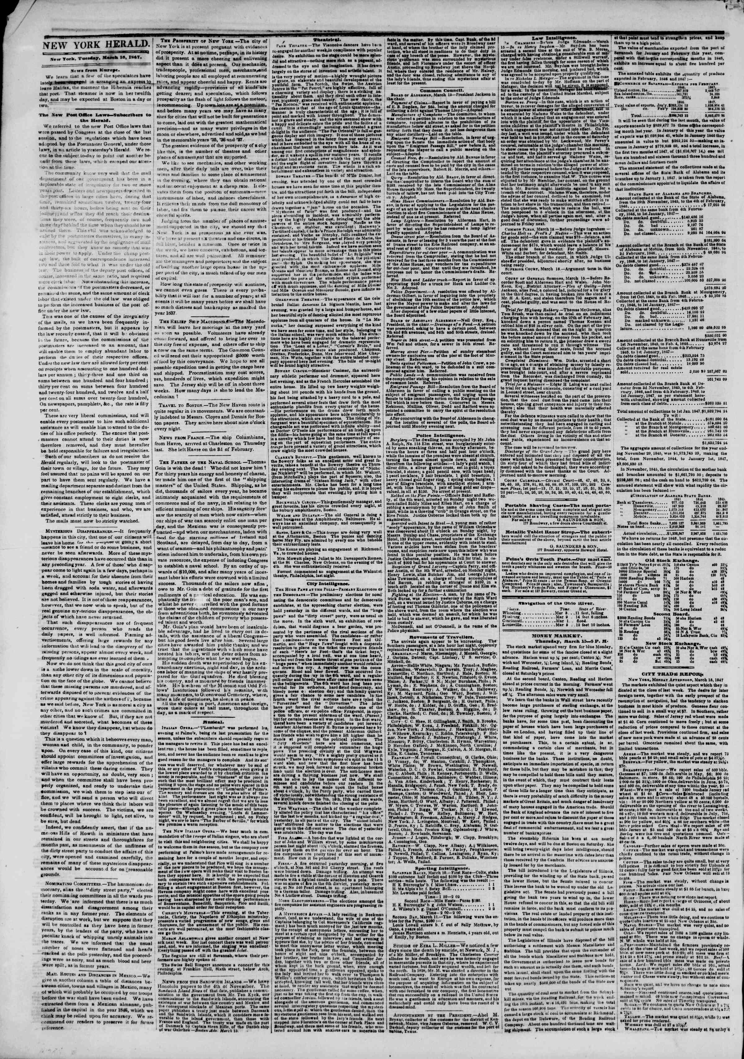 Newspaper of The New York Herald dated March 16, 1847 Page 2