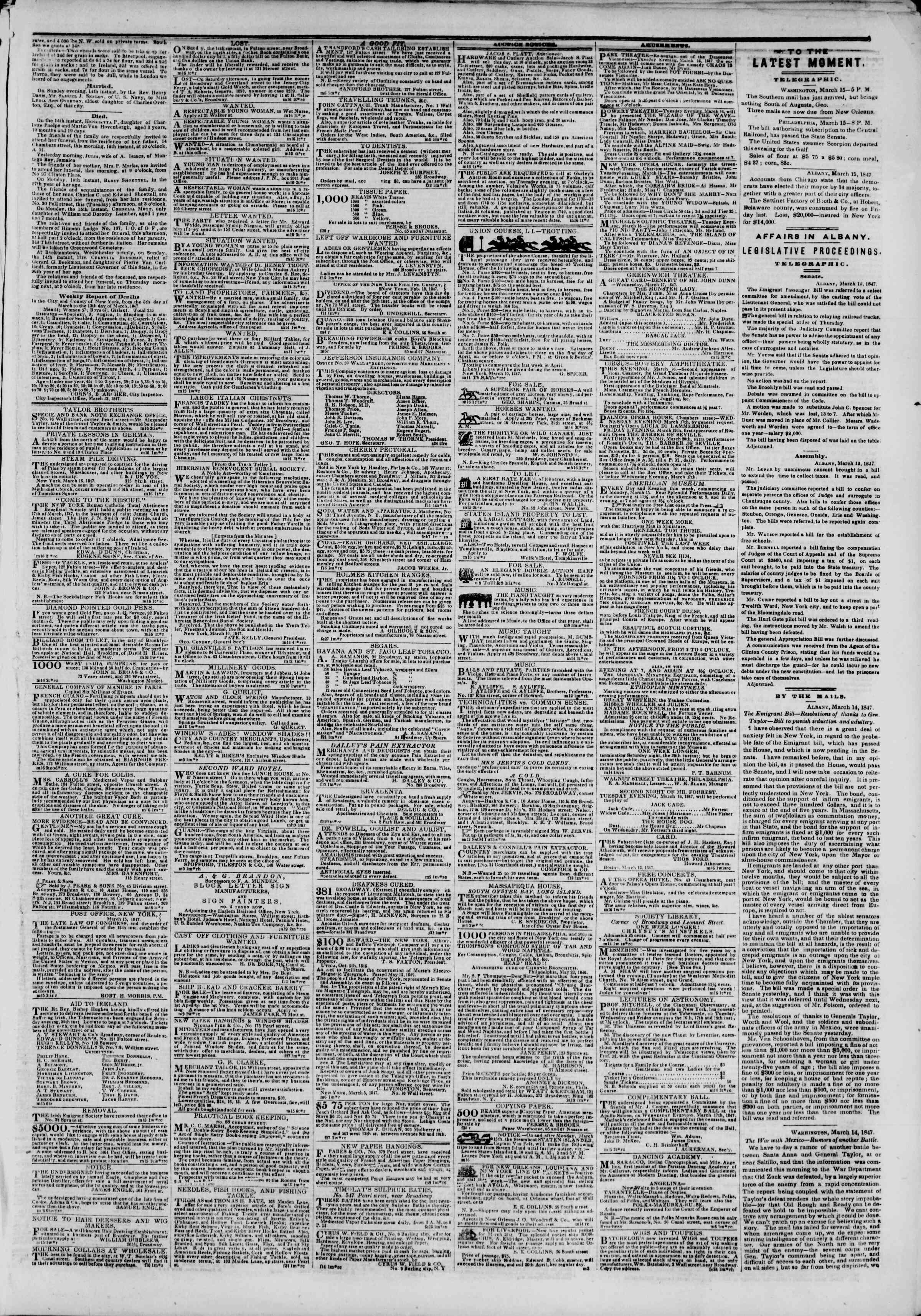 16 Mart 1847 tarihli The New York Herald Gazetesi Sayfa 3