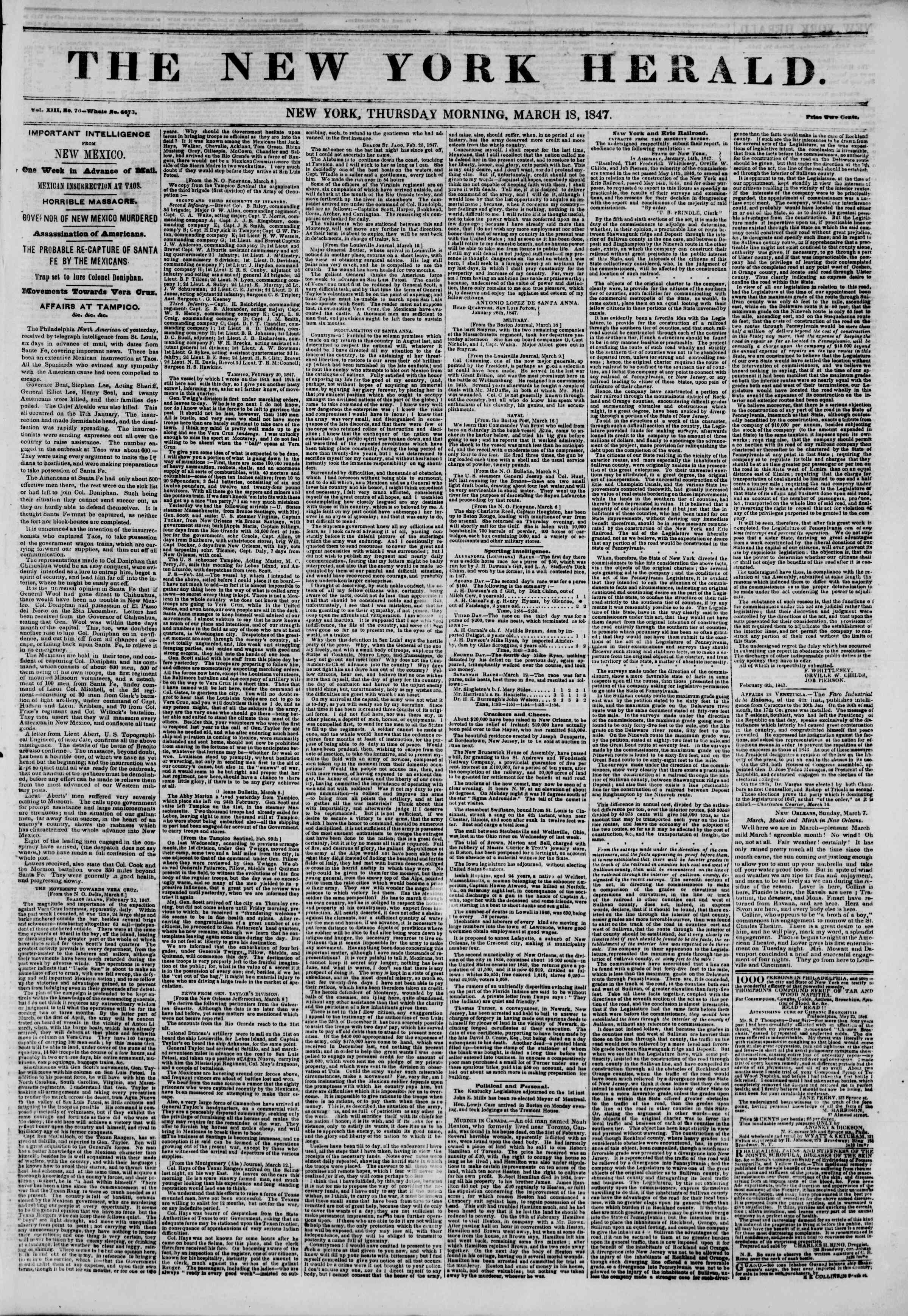 Newspaper of The New York Herald dated March 18, 1847 Page 1